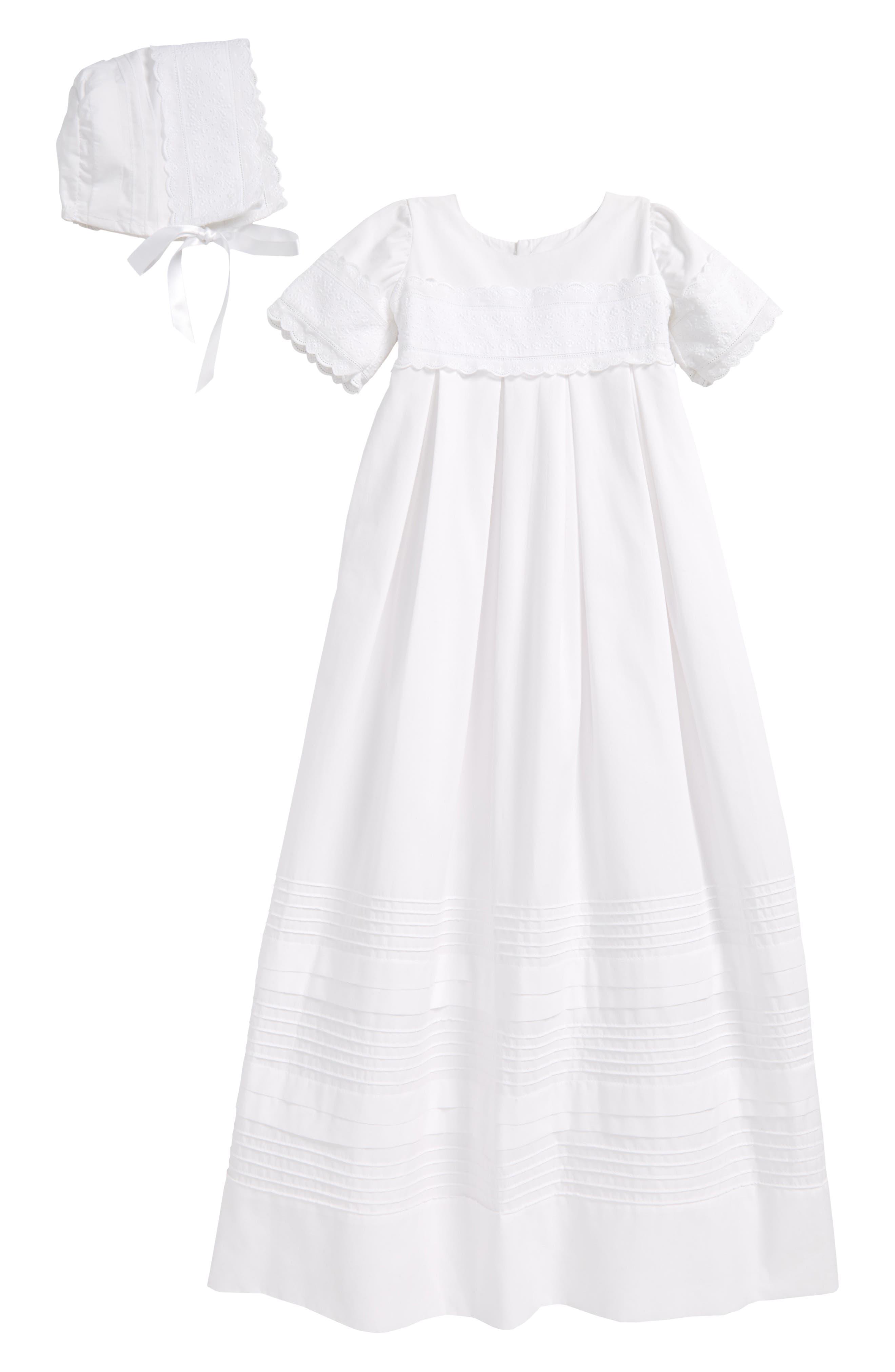 Heritage Christening Gown & Bonnet Set,                             Main thumbnail 1, color,                             WHITE