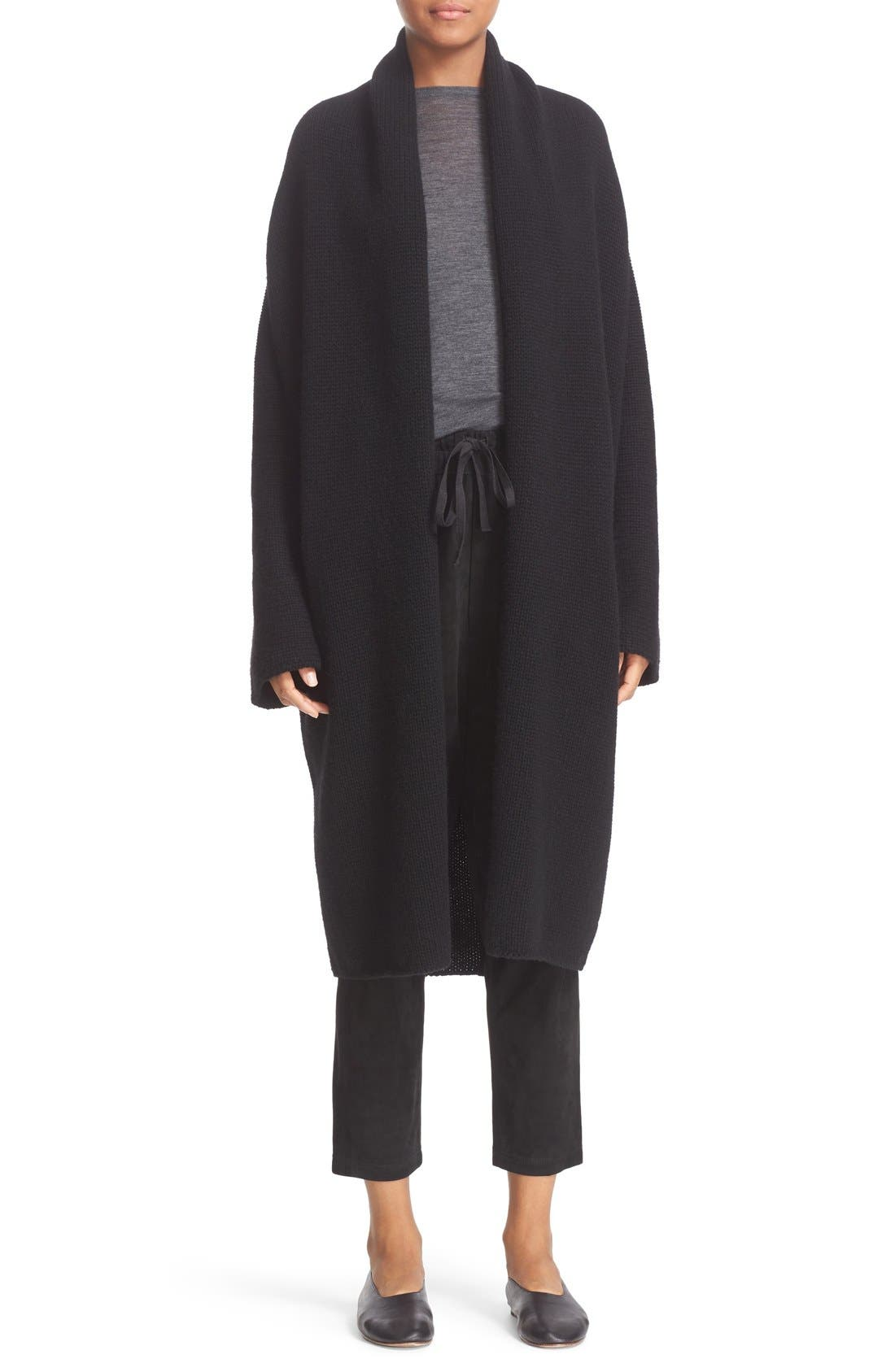VINCE Wool & Yak Robe Cardigan, Main, color, 001
