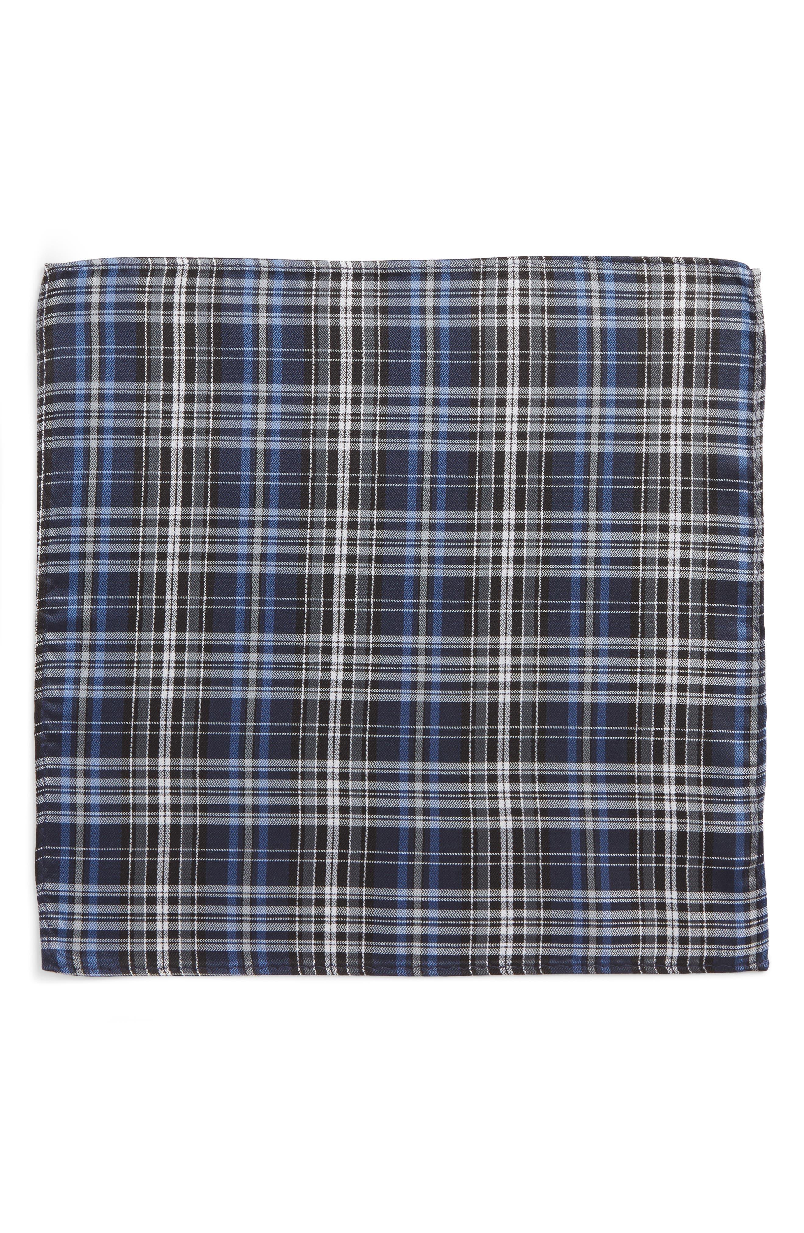 Motley Plaid Silk Pocket Square,                             Alternate thumbnail 2, color,                             410