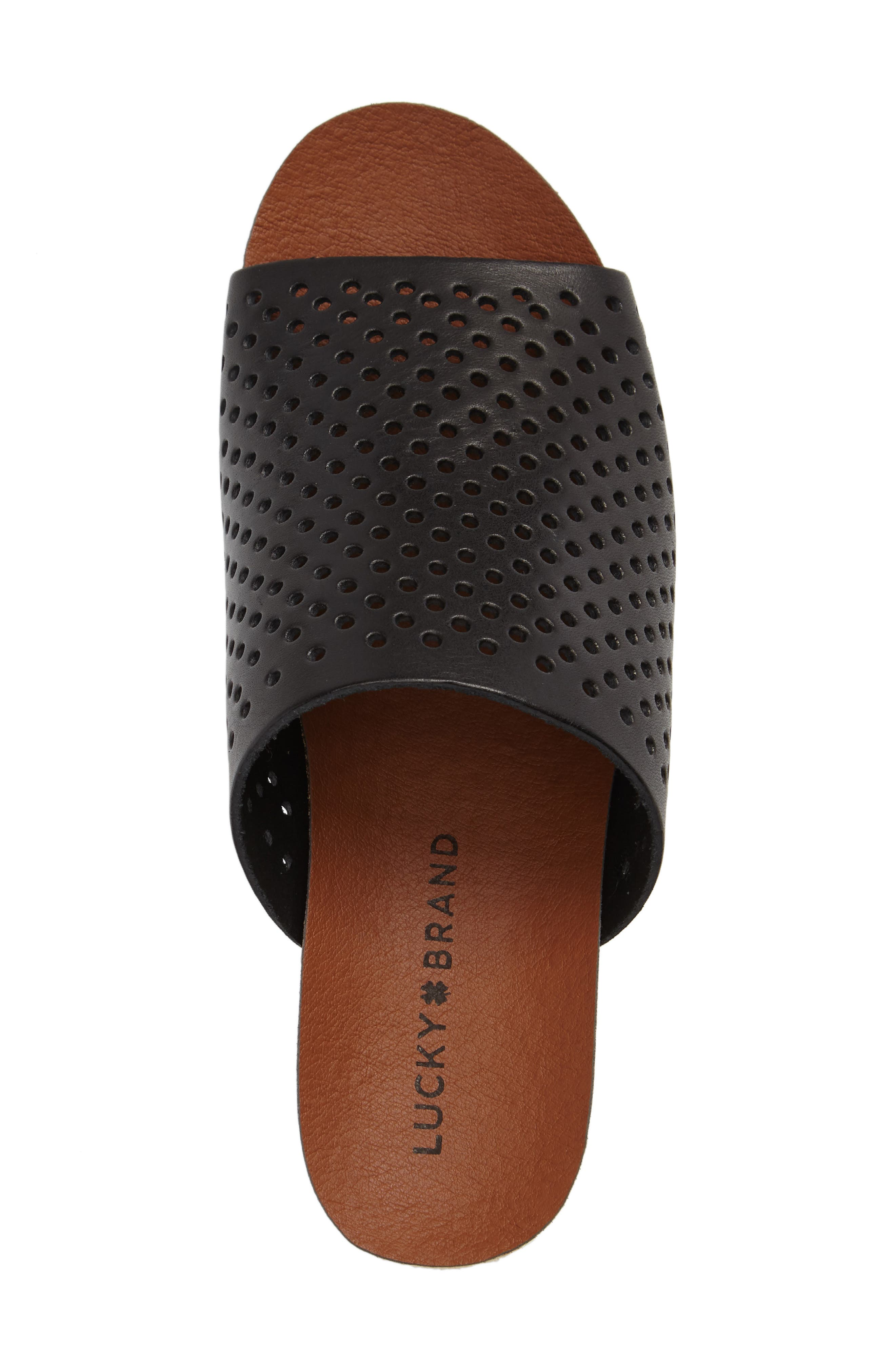Jemya Perforated Open Toe Mule,                             Alternate thumbnail 5, color,                             001