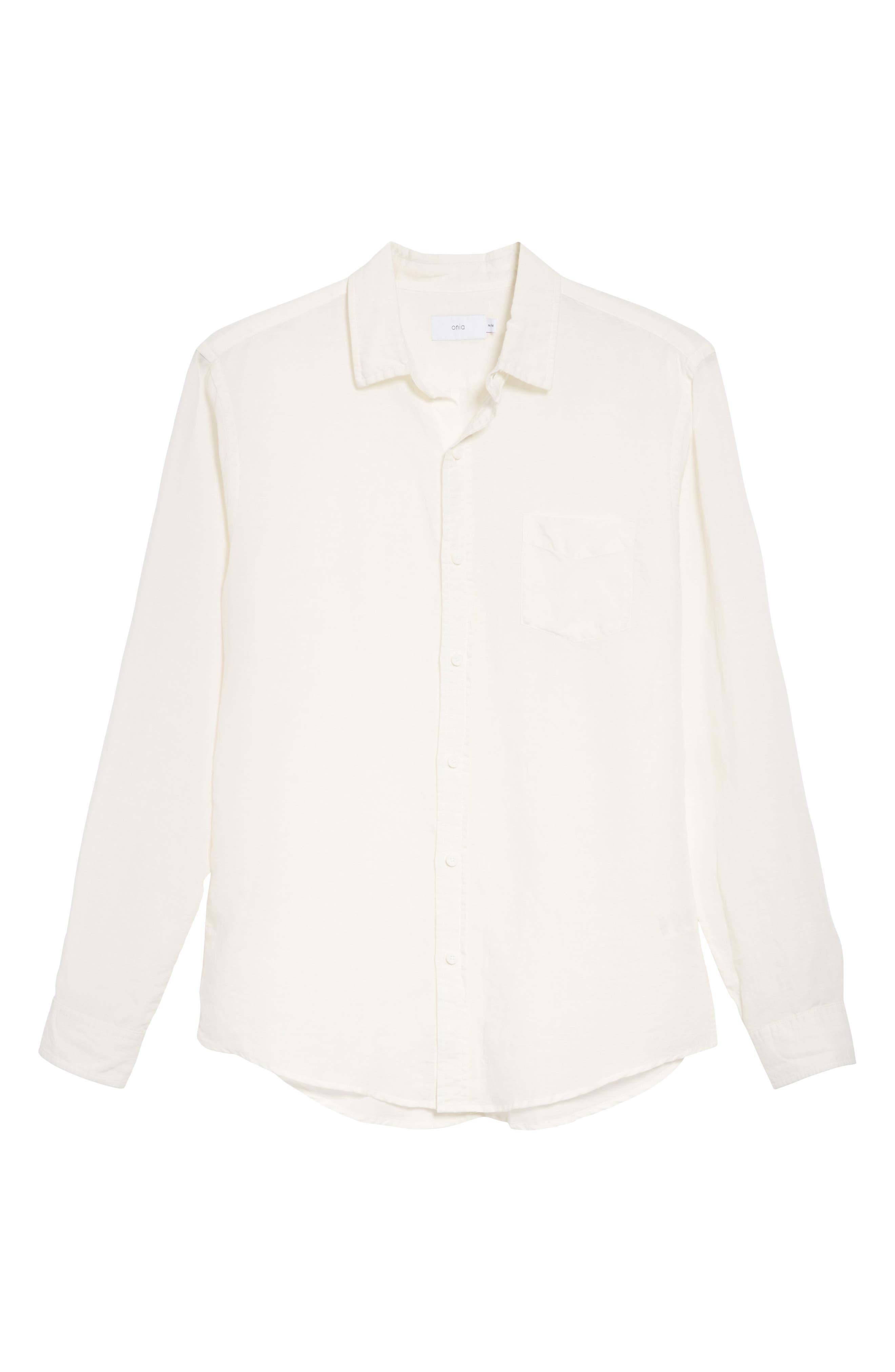 Abe Linen Blend Shirt,                             Alternate thumbnail 6, color,                             WHITE