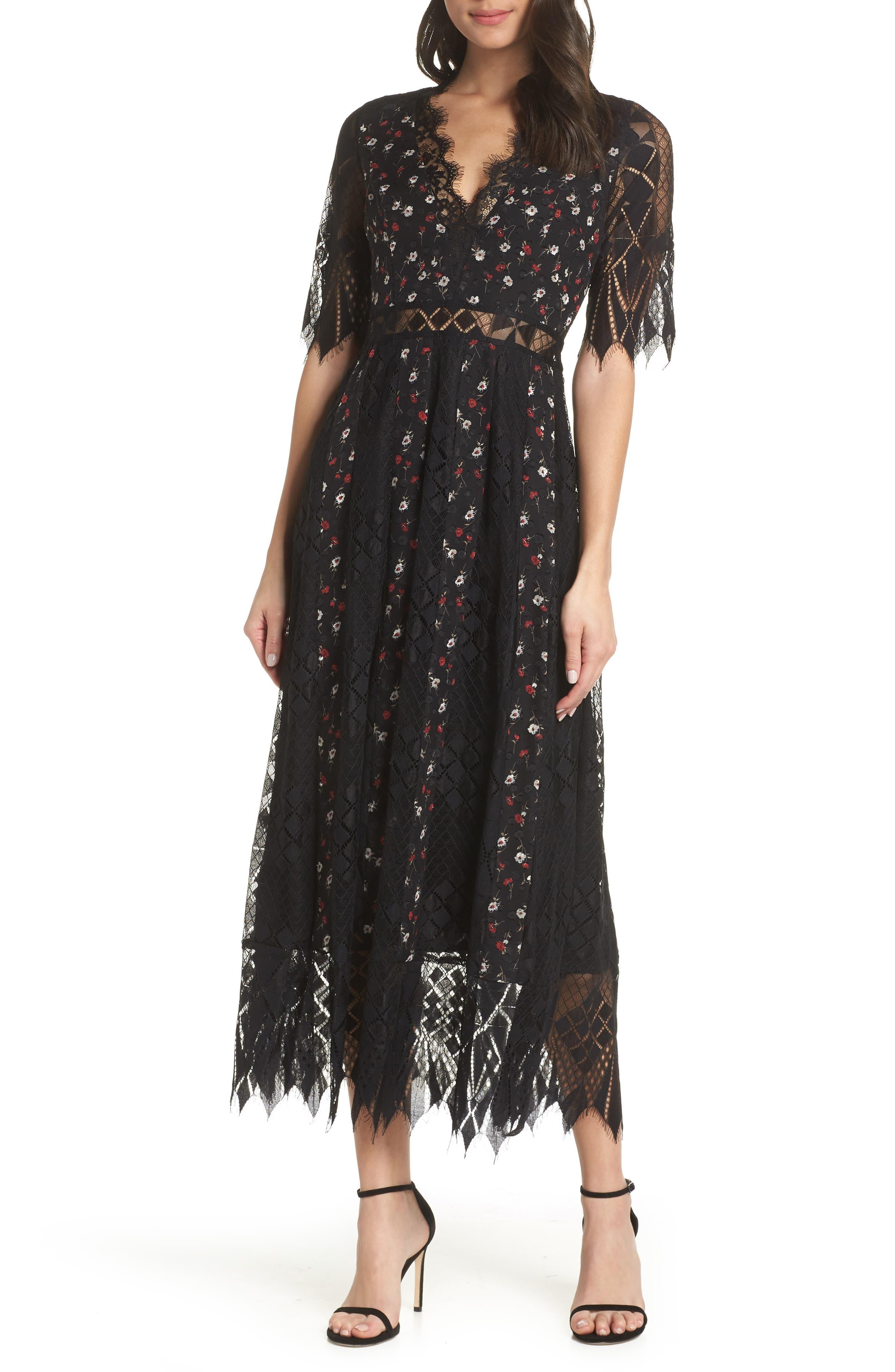 Josefine Lace & Clip Dot Tea Length Dress,                             Main thumbnail 1, color,                             BLACK MULTI
