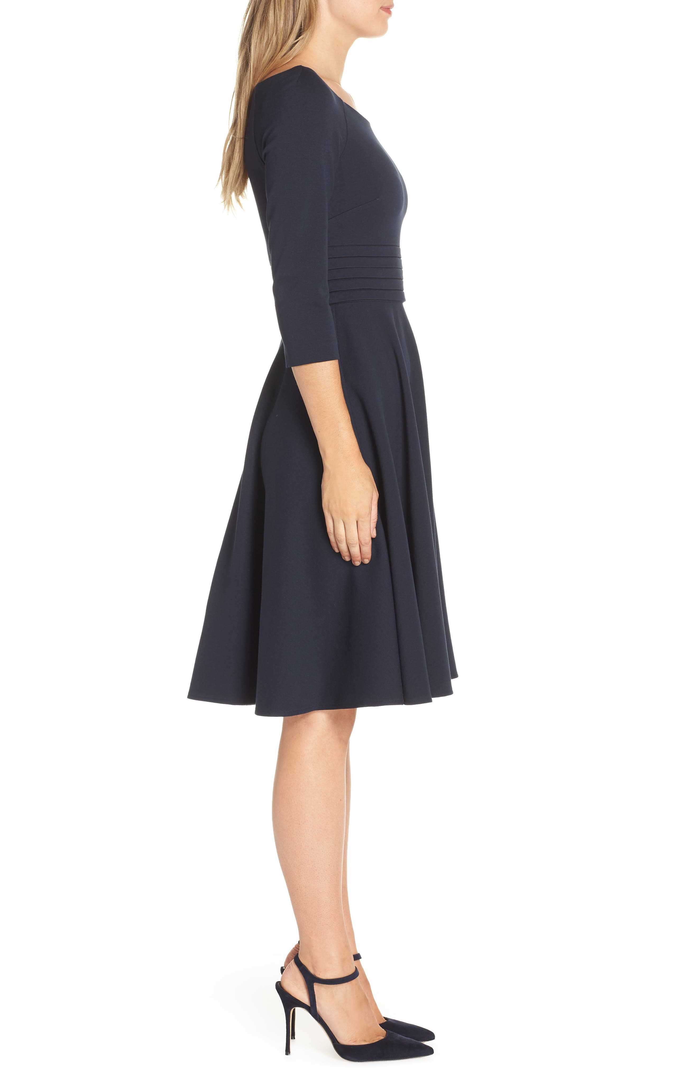 Pleated Waist Fit & Flare Dress,                             Alternate thumbnail 3, color,                             NAVY
