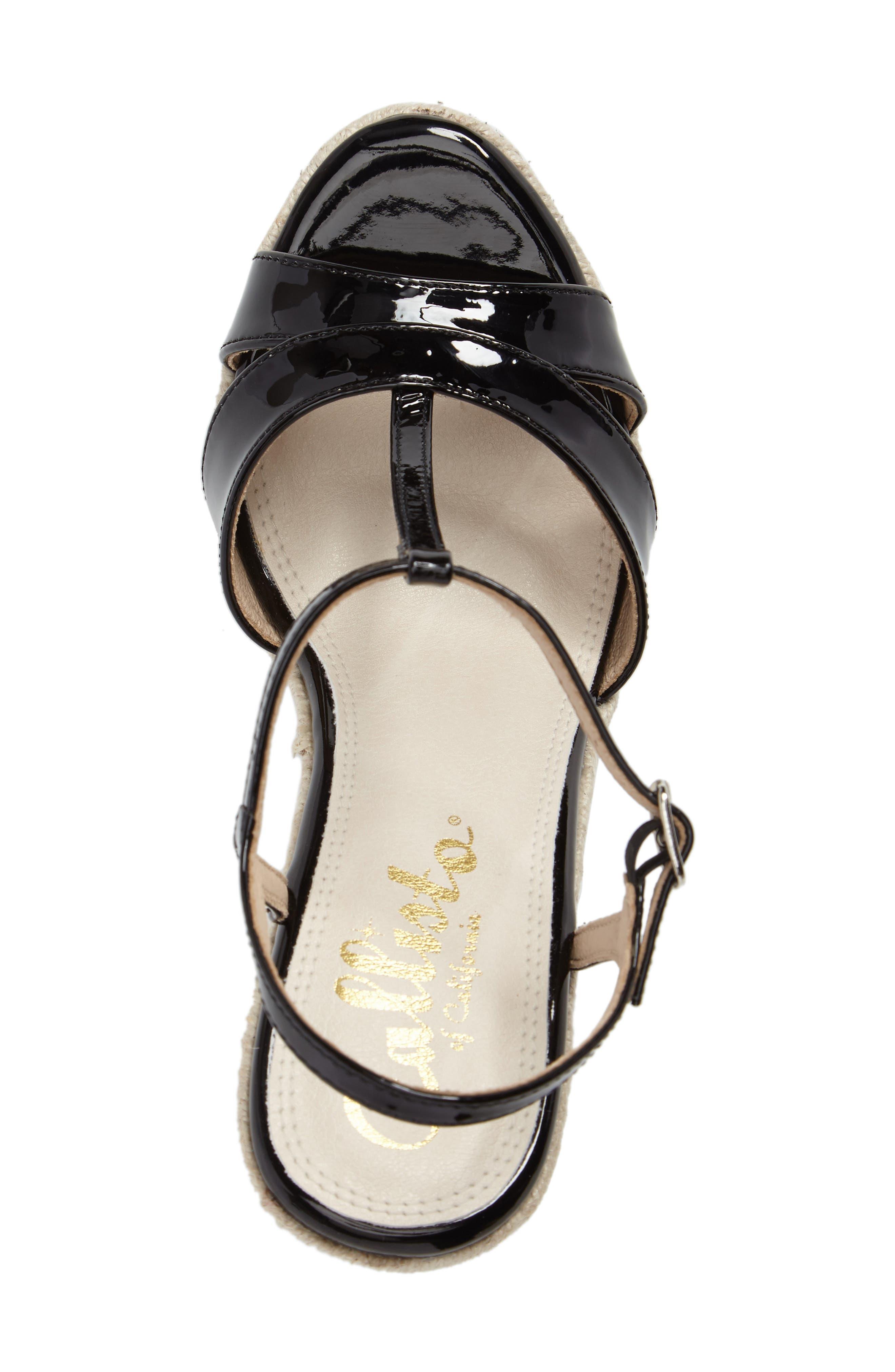 Alinna T-Strap Wedge Sandal,                             Alternate thumbnail 5, color,                             002