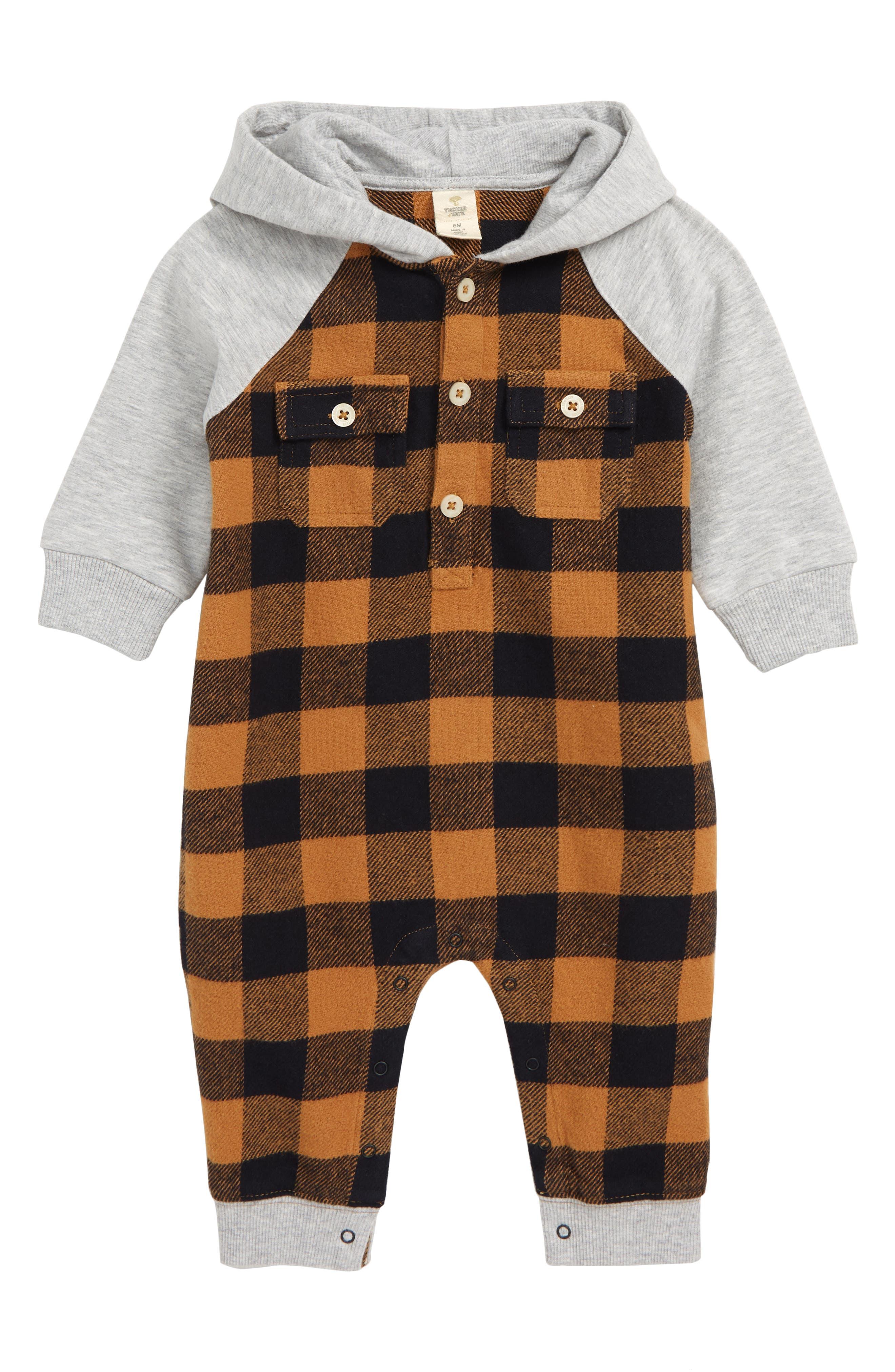 Infant Boys Tucker  Tate Hooded Flannel Romper