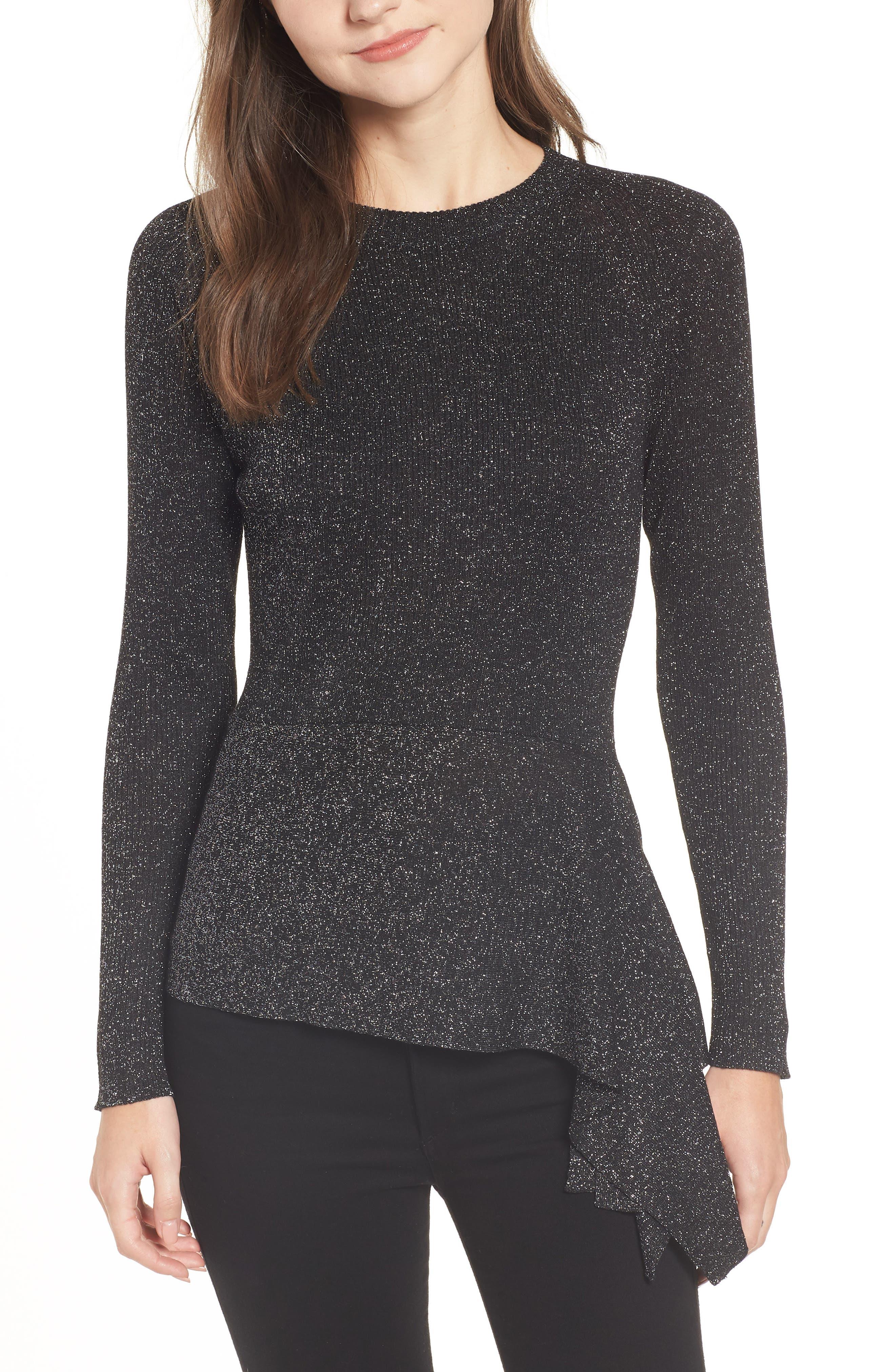 Drape Waist Sweater,                             Main thumbnail 1, color,                             BLACK- SILVER SPANGLE METALLIC
