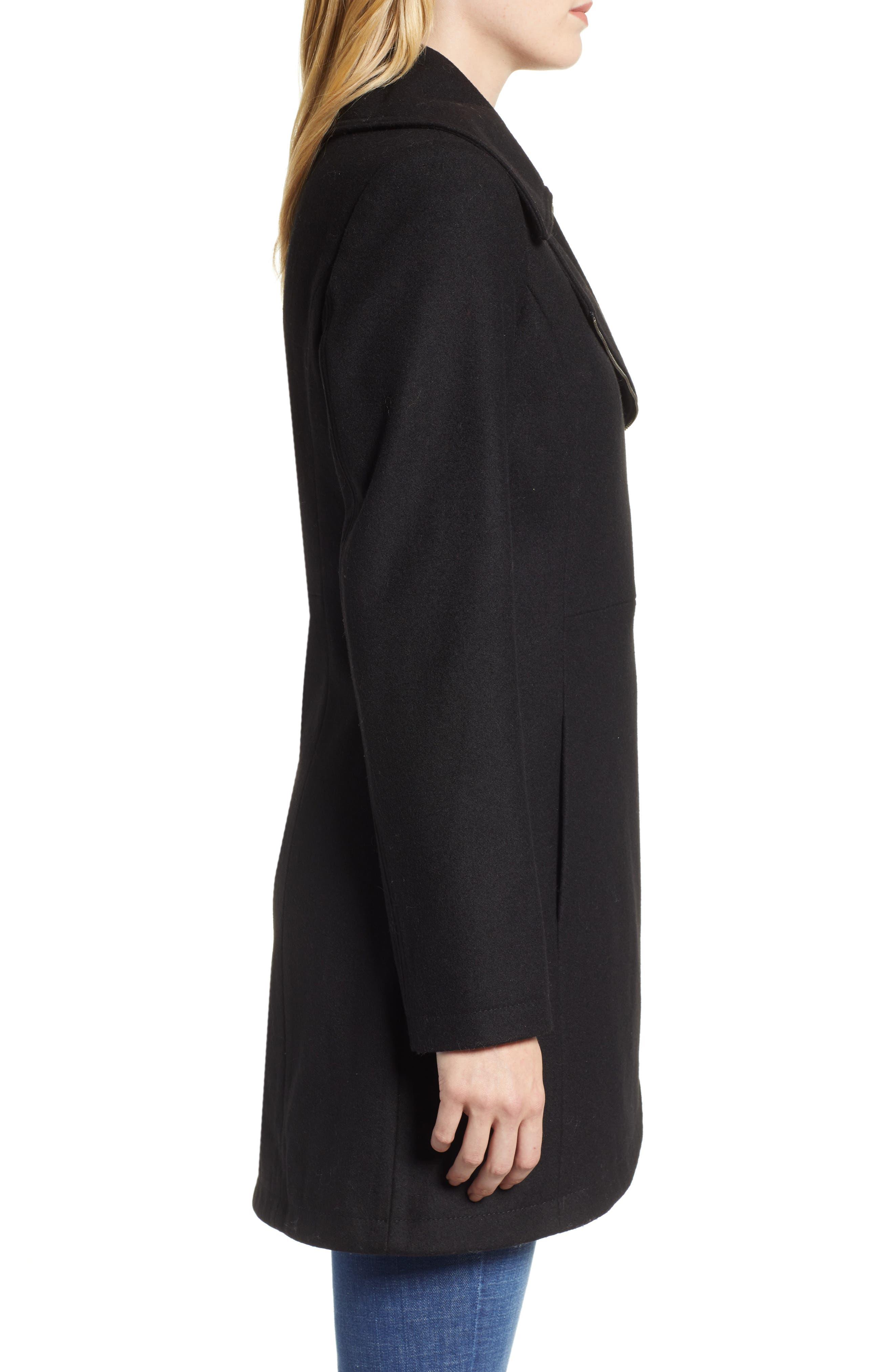 Asymmetrical Zip Wool Blend Coat,                             Alternate thumbnail 3, color,                             001