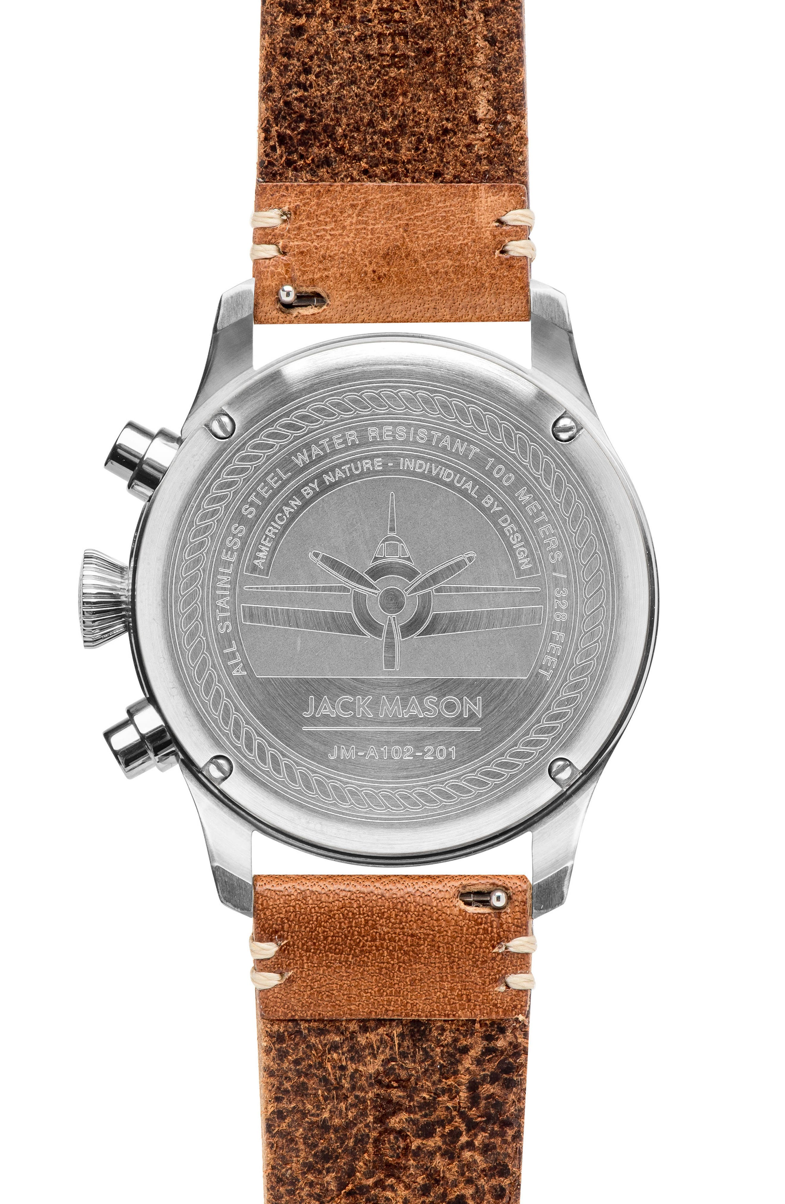 Aviation Chronograph Leather Strap Watch, 42mm,                             Alternate thumbnail 2, color,                             200