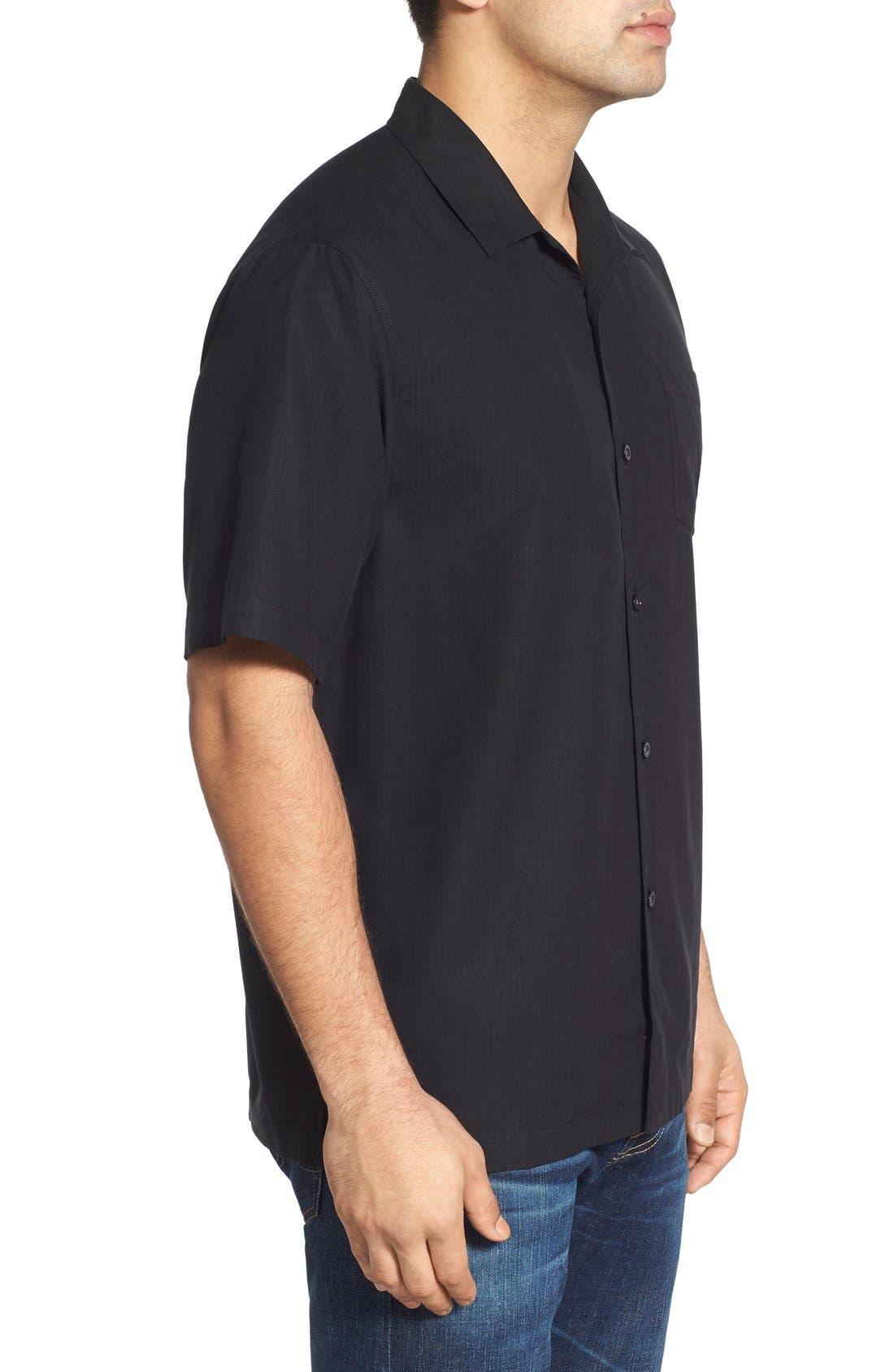 Java Dobby Original Fit Silk Camp Shirt,                             Alternate thumbnail 3, color,                             001