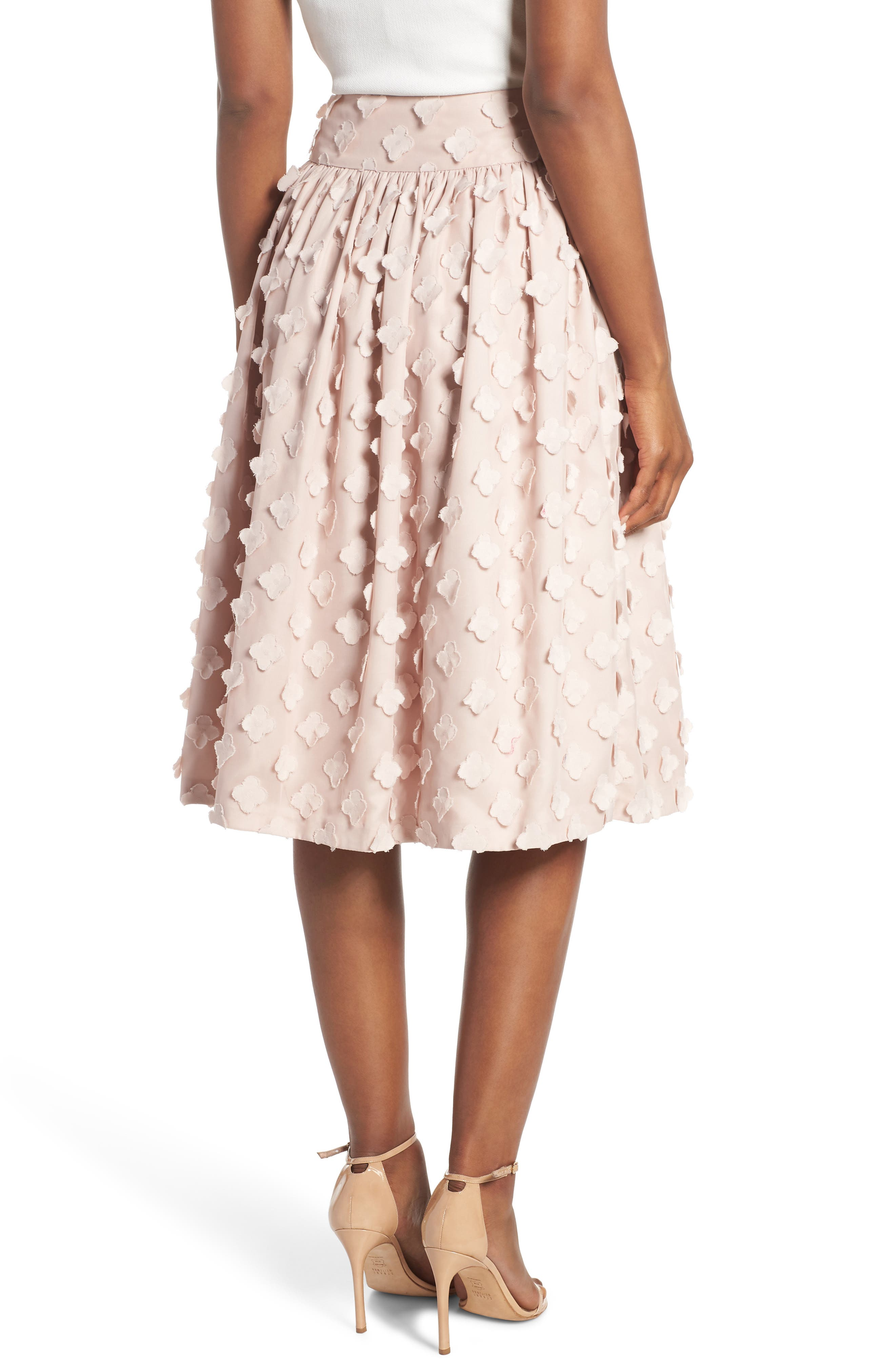 Flower Texture Gathered Skirt,                             Alternate thumbnail 2, color,                             BLUSH
