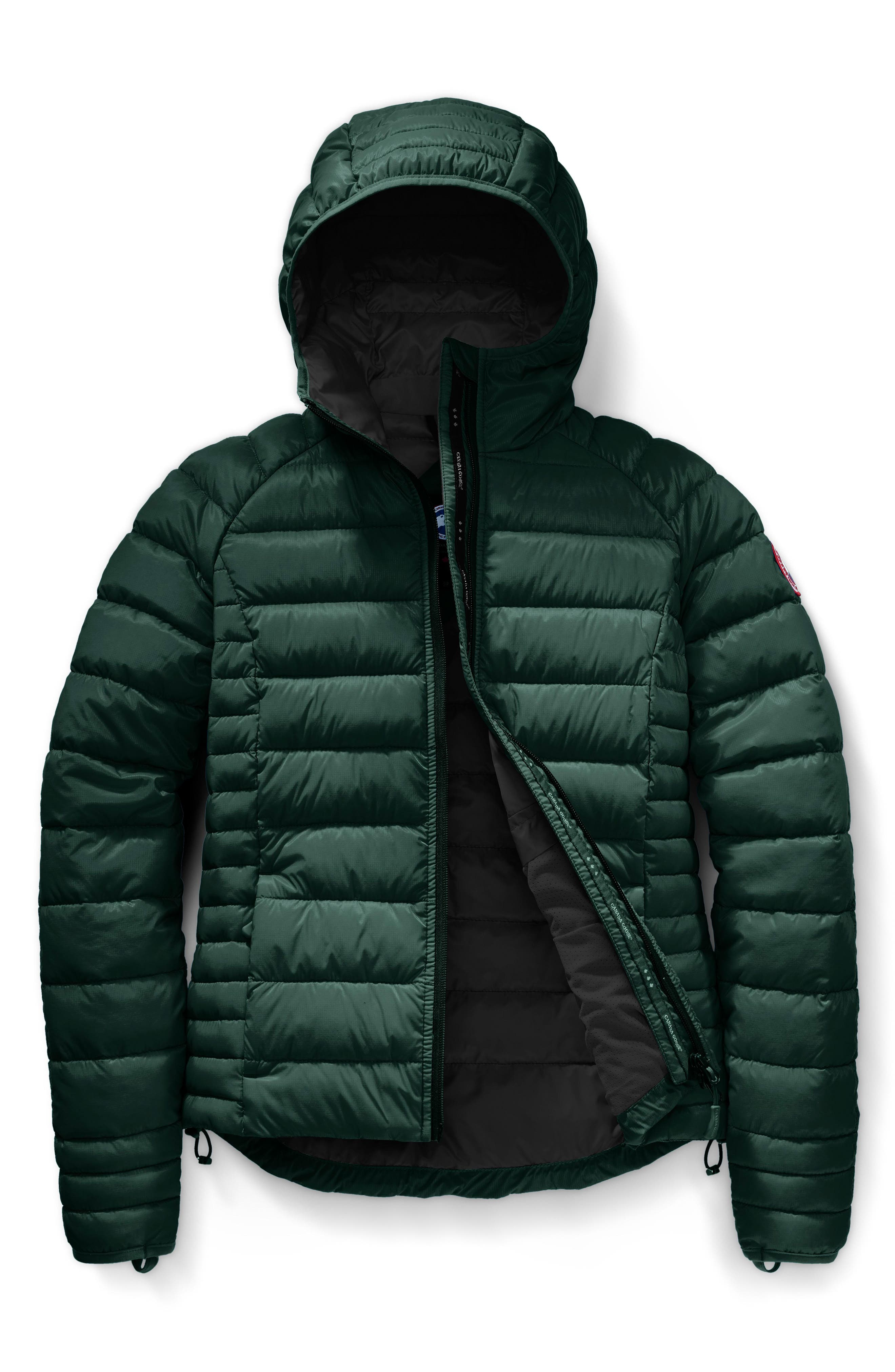 'Brookvale' Packable Hooded Quilted Down Jacket,                             Alternate thumbnail 4, color,                             SPRUCE/BLACK