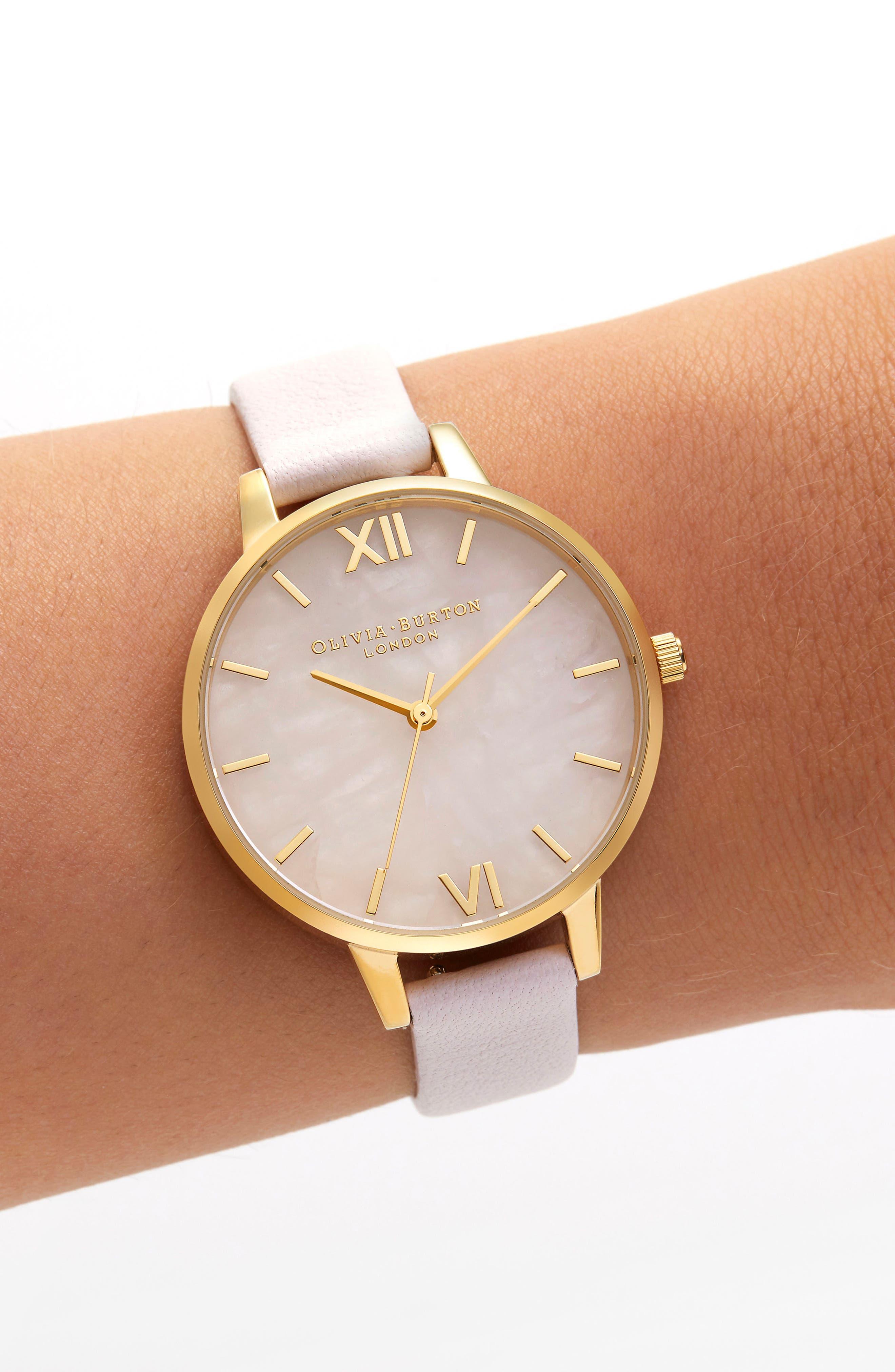 Rose Quartz Leather Strap Watch, 34mm,                             Alternate thumbnail 2, color,                             BLOSSOM/ ROSE QUARTZ/ GOLD