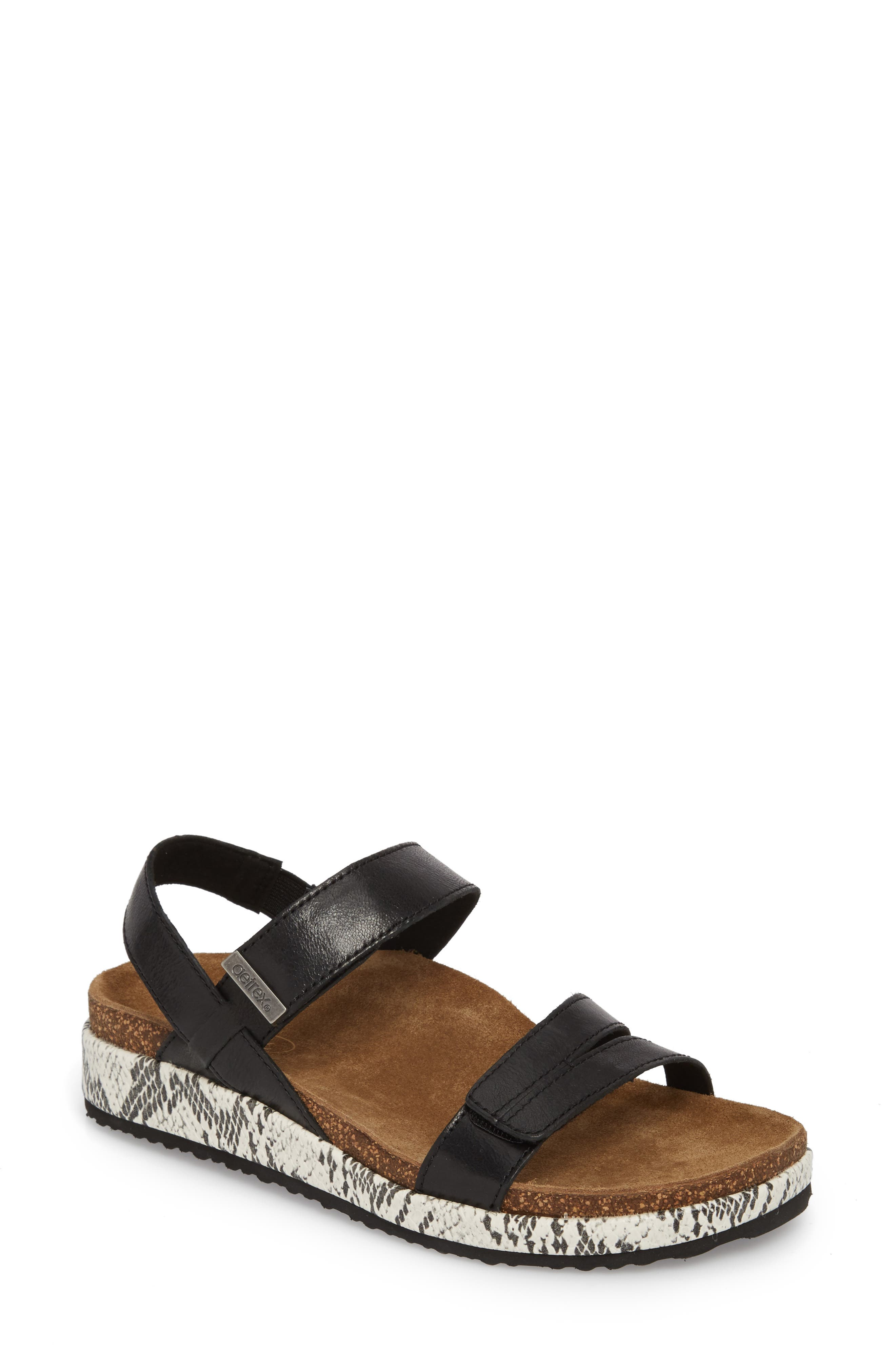 AETREX Bethany Sandal, Main, color, BLACK LEATHER