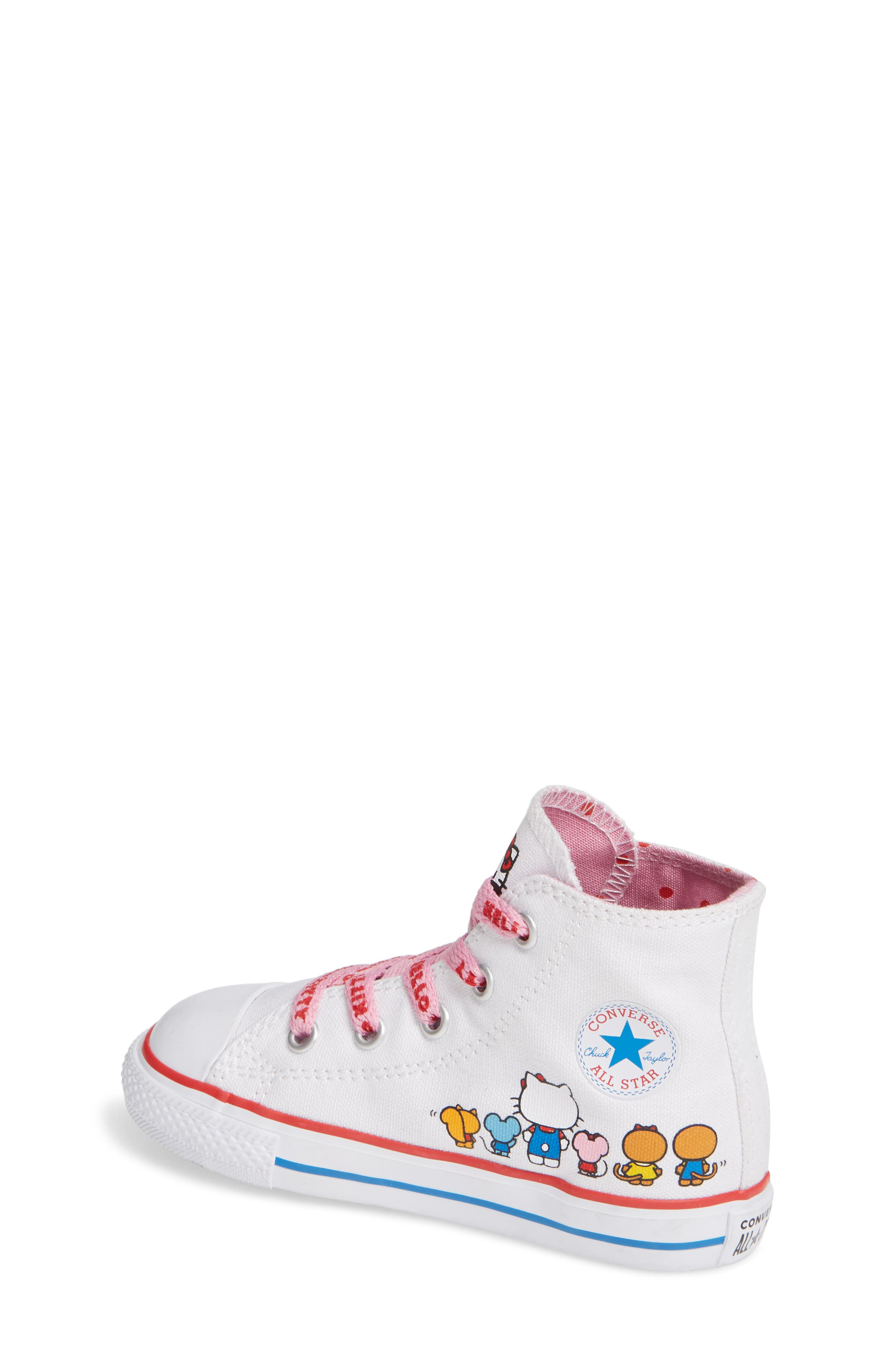 Chuck Taylor<sup>®</sup> All Star<sup>®</sup> Hello Kitty<sup>®</sup> High Top Sneaker,                             Alternate thumbnail 2, color,                             WHITE
