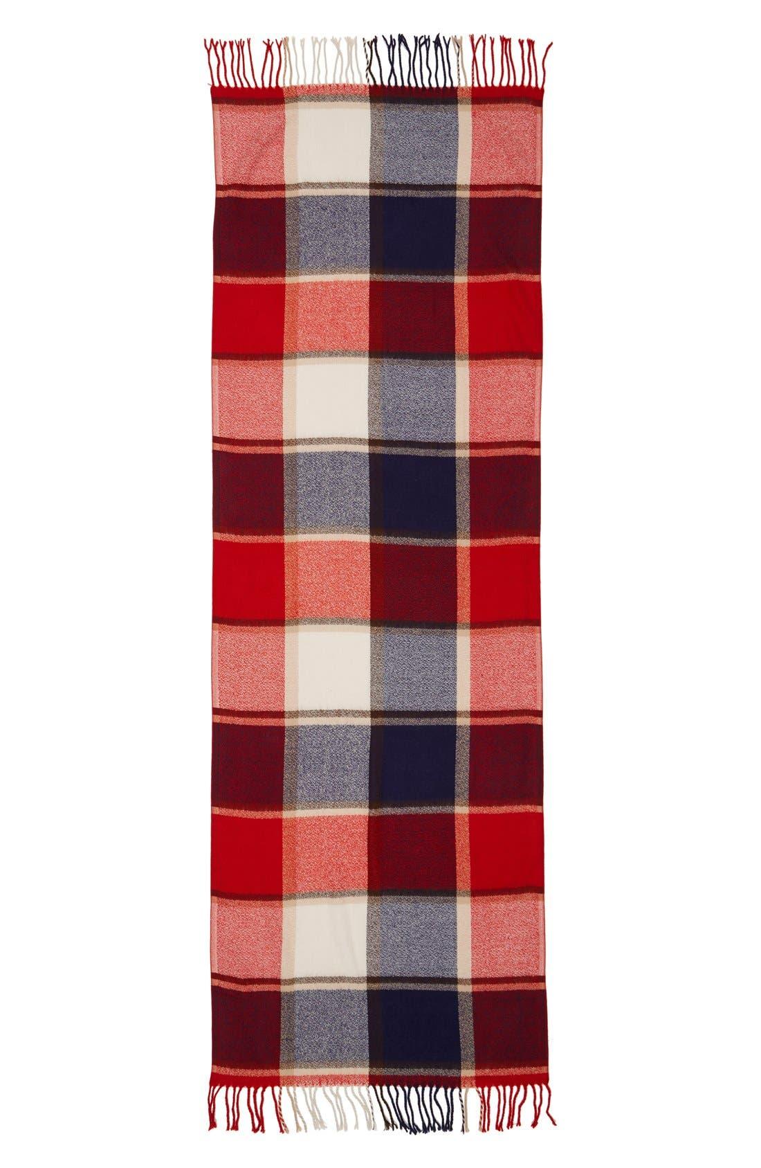 Plaid Fringe OblongScarf,                             Alternate thumbnail 3, color,                             600