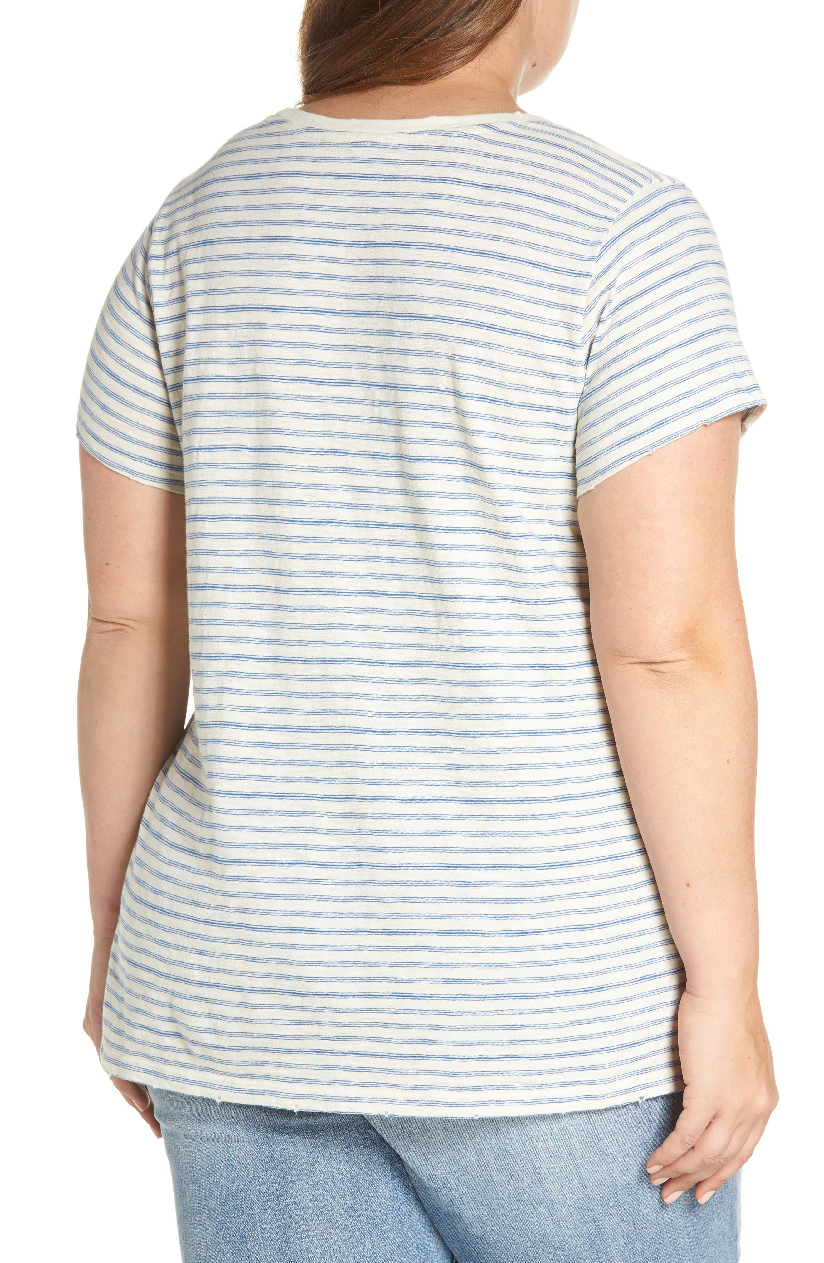 Lace-Up Shoulder Stripe Tee,                             Alternate thumbnail 2, color,                             460