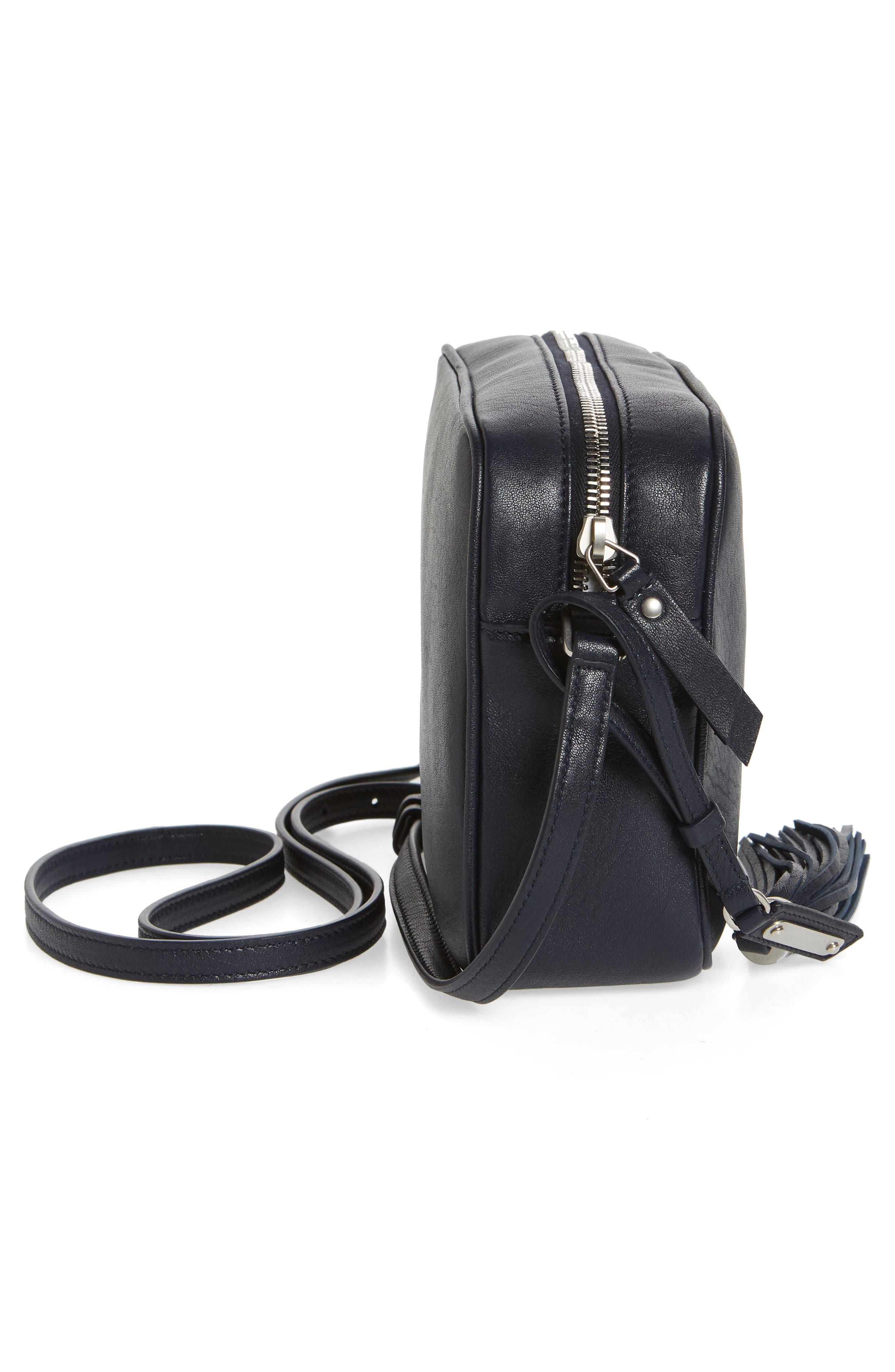 Small Mono Leather Camera Bag,                             Alternate thumbnail 5, color,                             DEEP MARINE