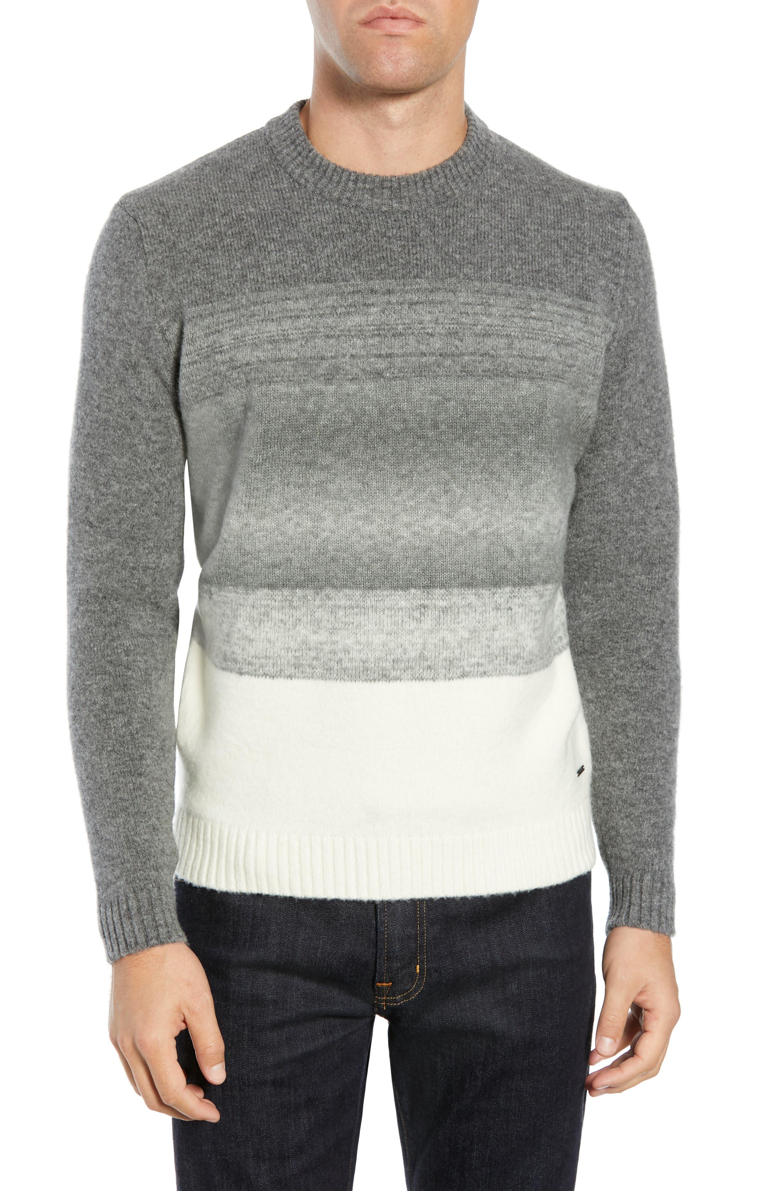 Ecardo Dégradé Virgin Wool Blend Sweater, Main, color, GREY