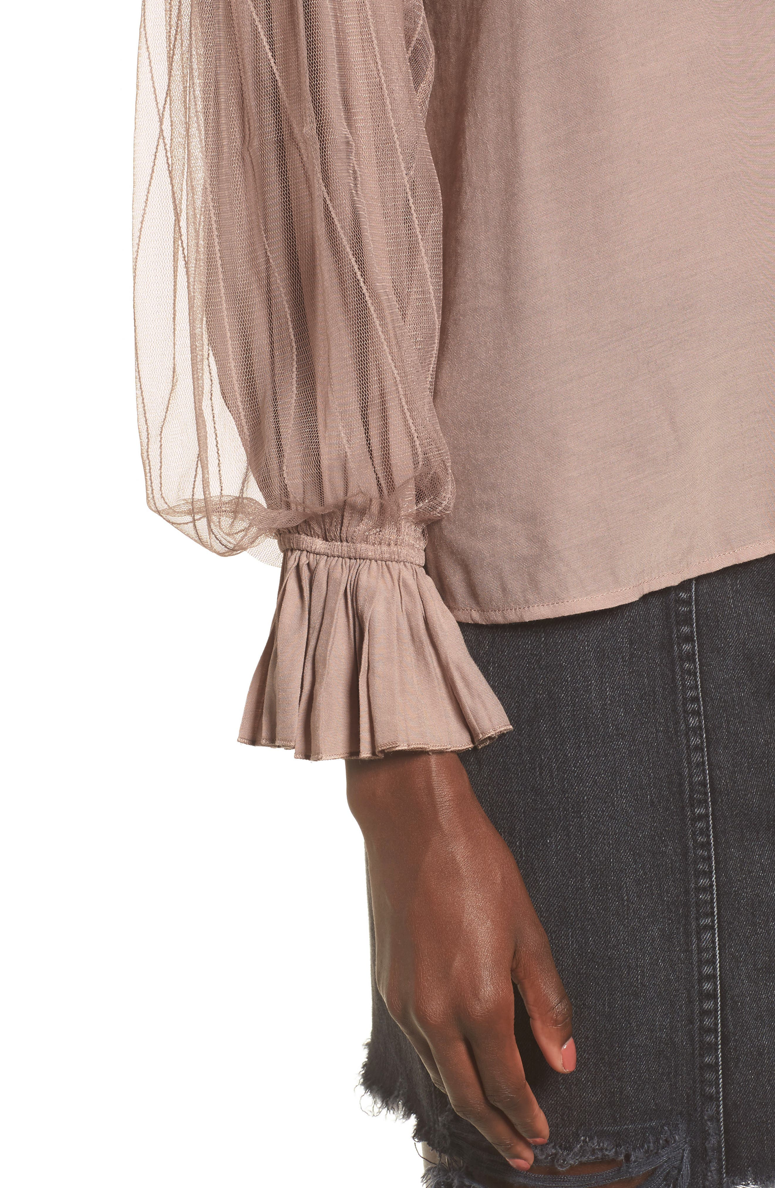 Tulle Puff Sleeve Top,                             Alternate thumbnail 4, color,                             650