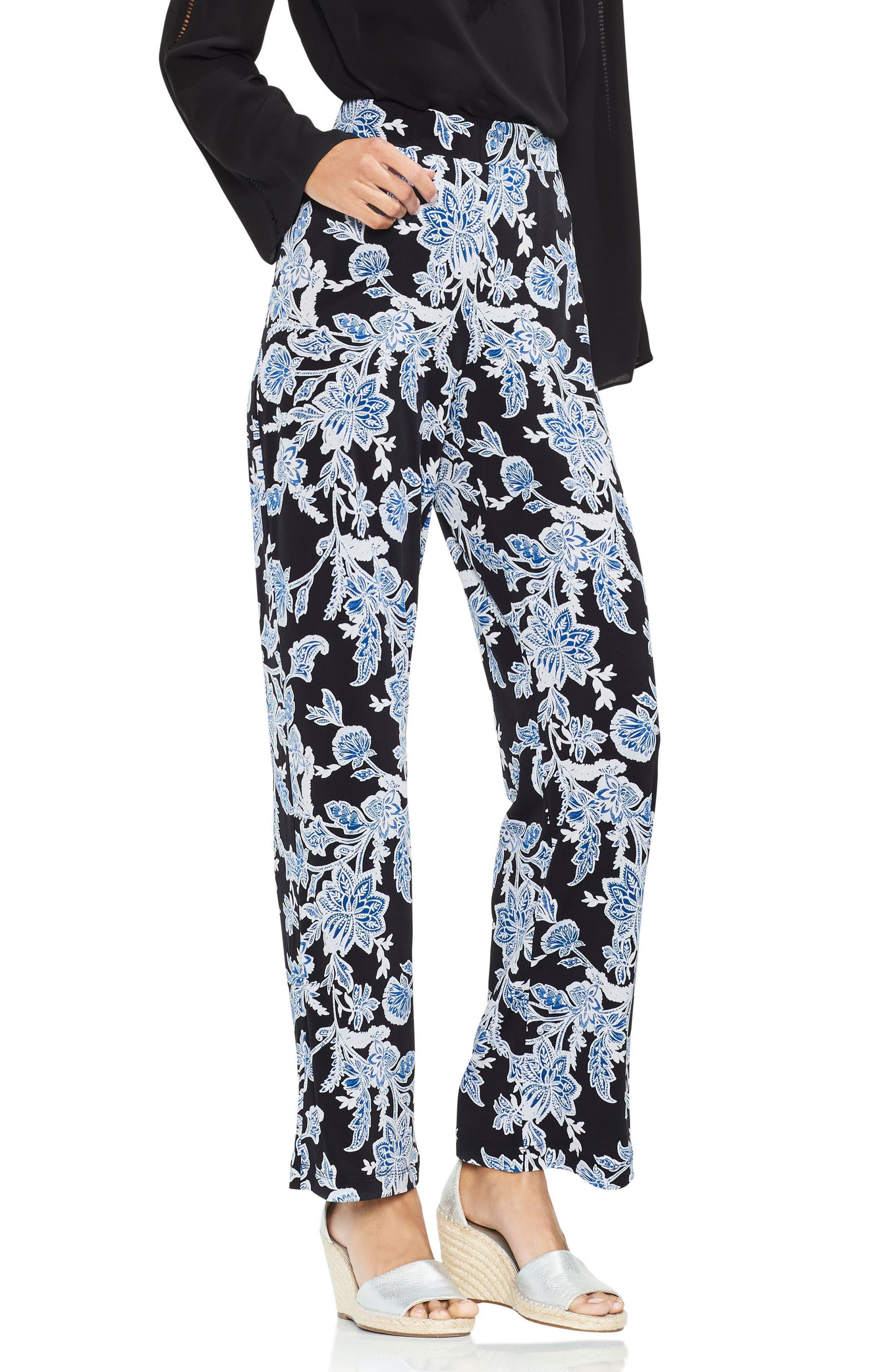 Woodblock Floral Wide Leg Pants,                             Main thumbnail 1, color,