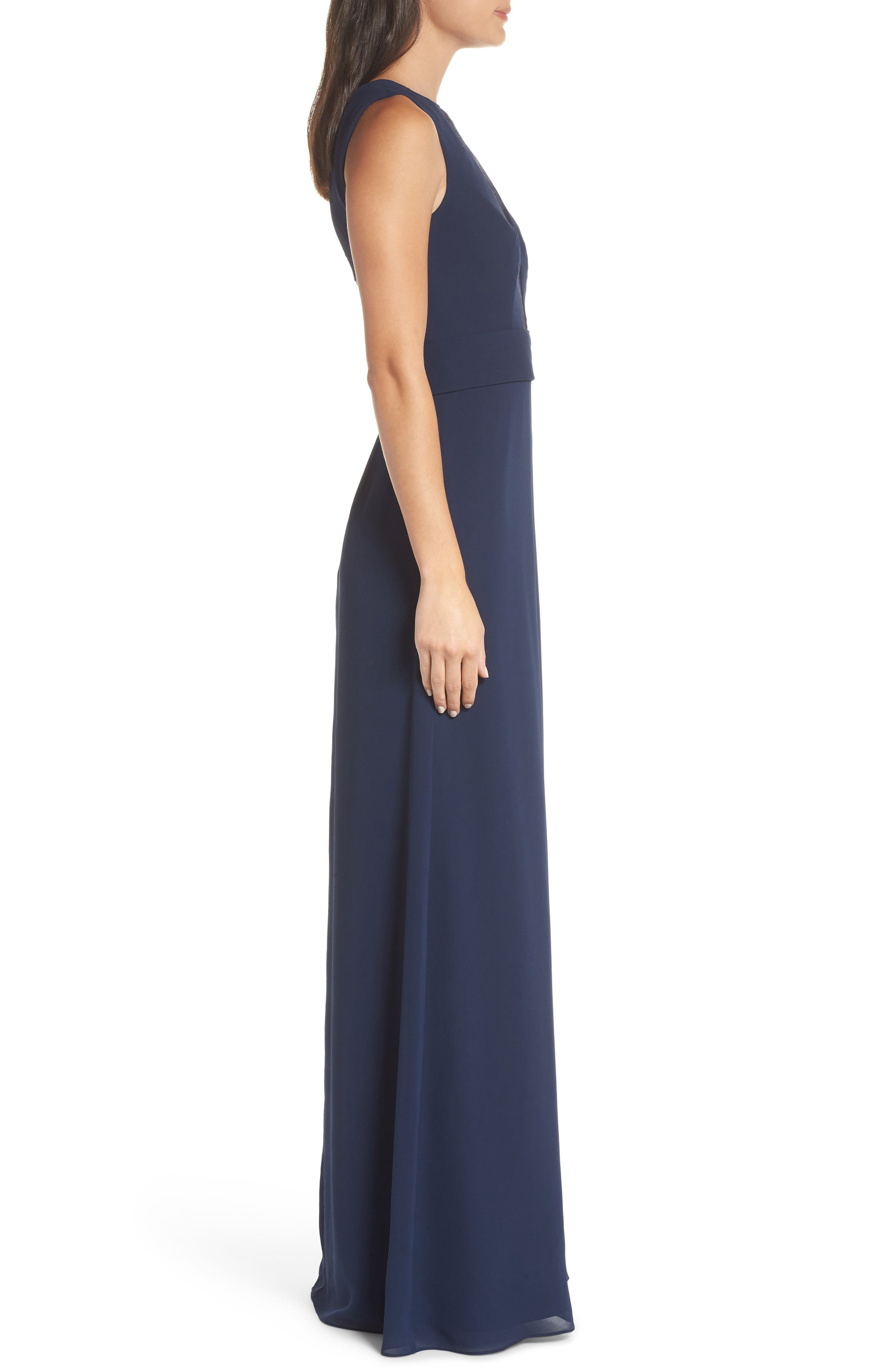 HAYLEY PAIGE OCCASIONS,                             Lace Inset Chiffon Gown,                             Alternate thumbnail 4, color,                             NAVY