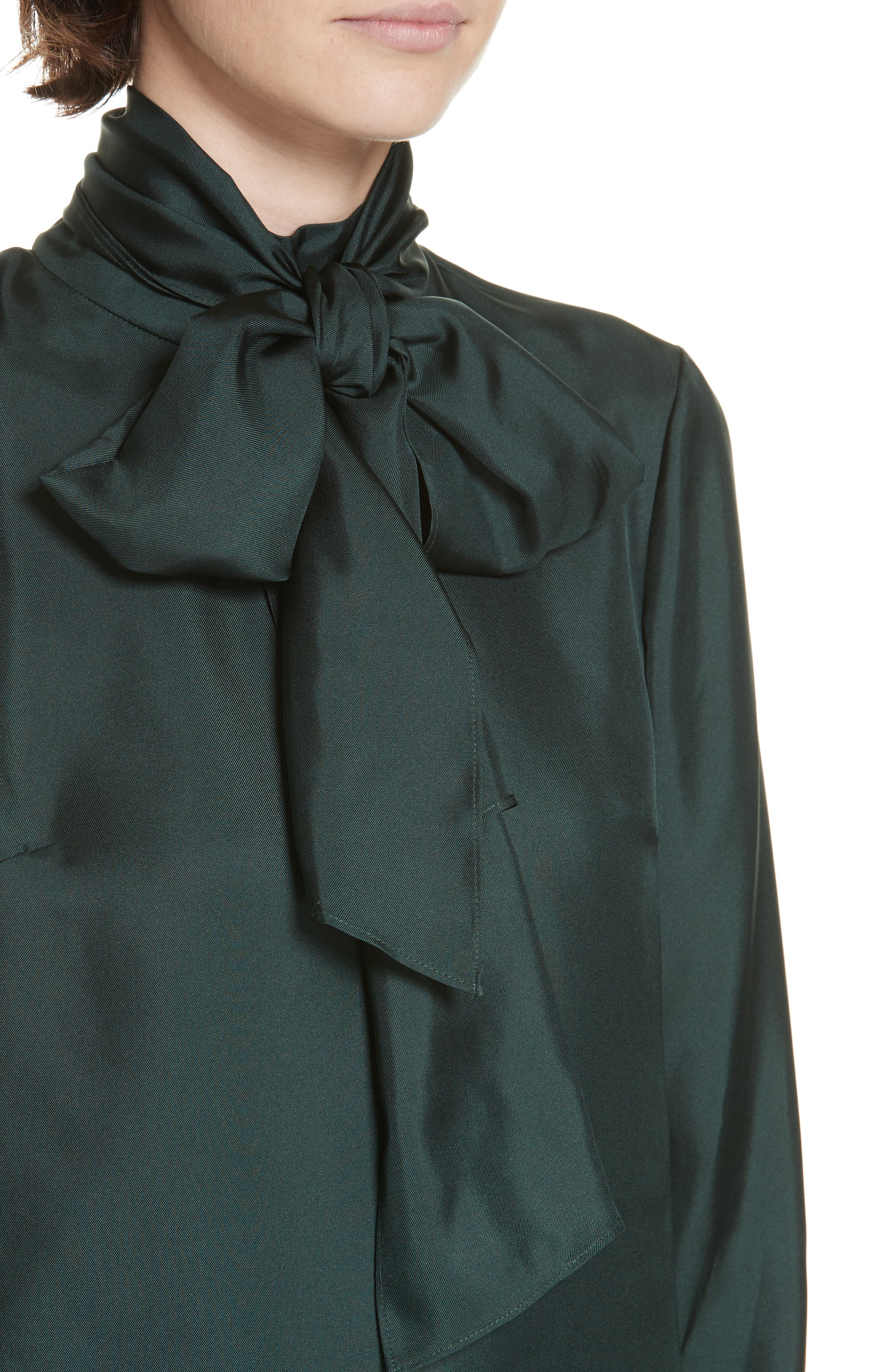 Marther Tie Neck Silk Blouse,                             Alternate thumbnail 4, color,                             DARK GREEN