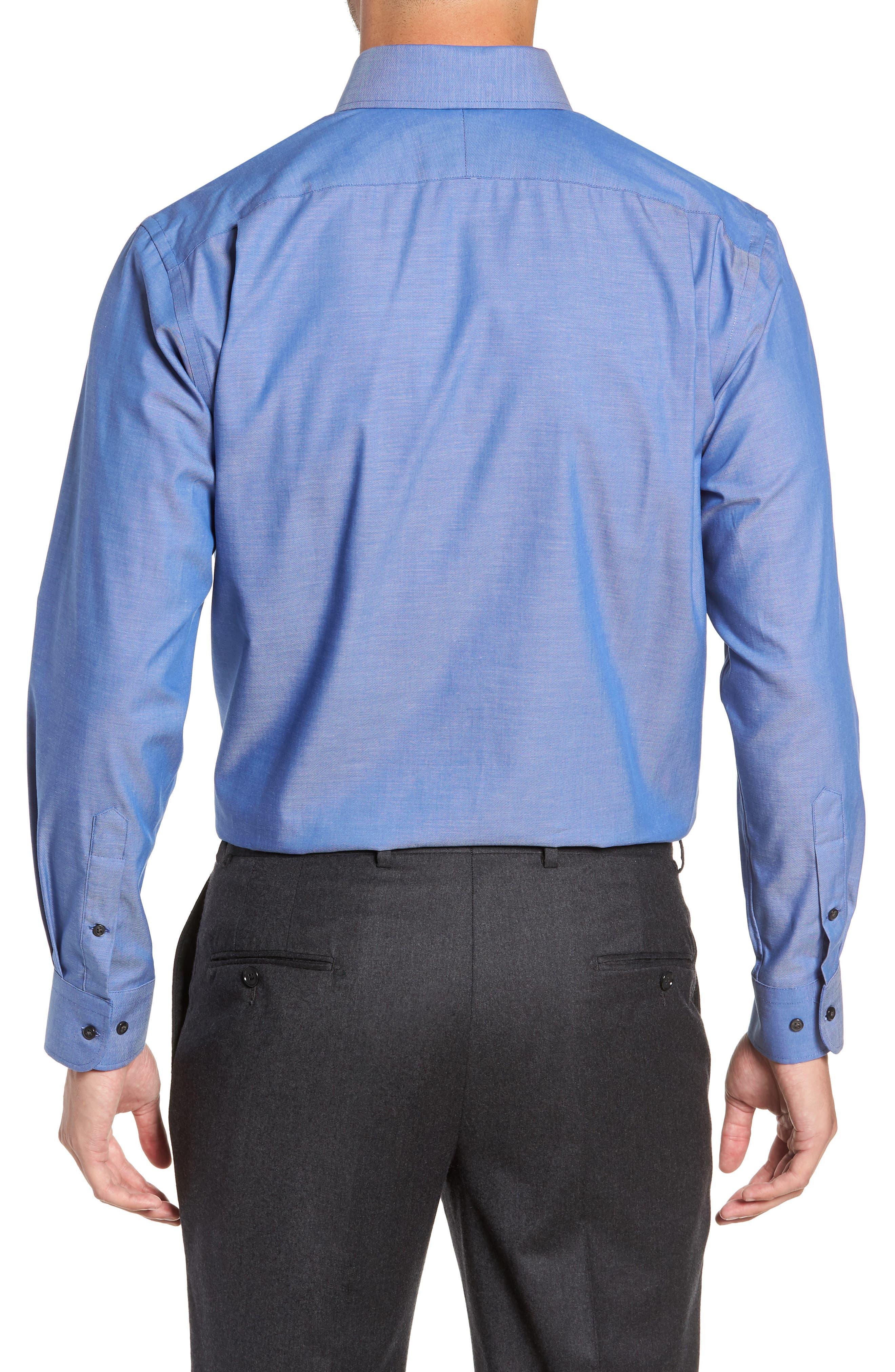 Traditional Fit Non-Iron Dress Shirt,                             Alternate thumbnail 3, color,                             BLUE DENIM