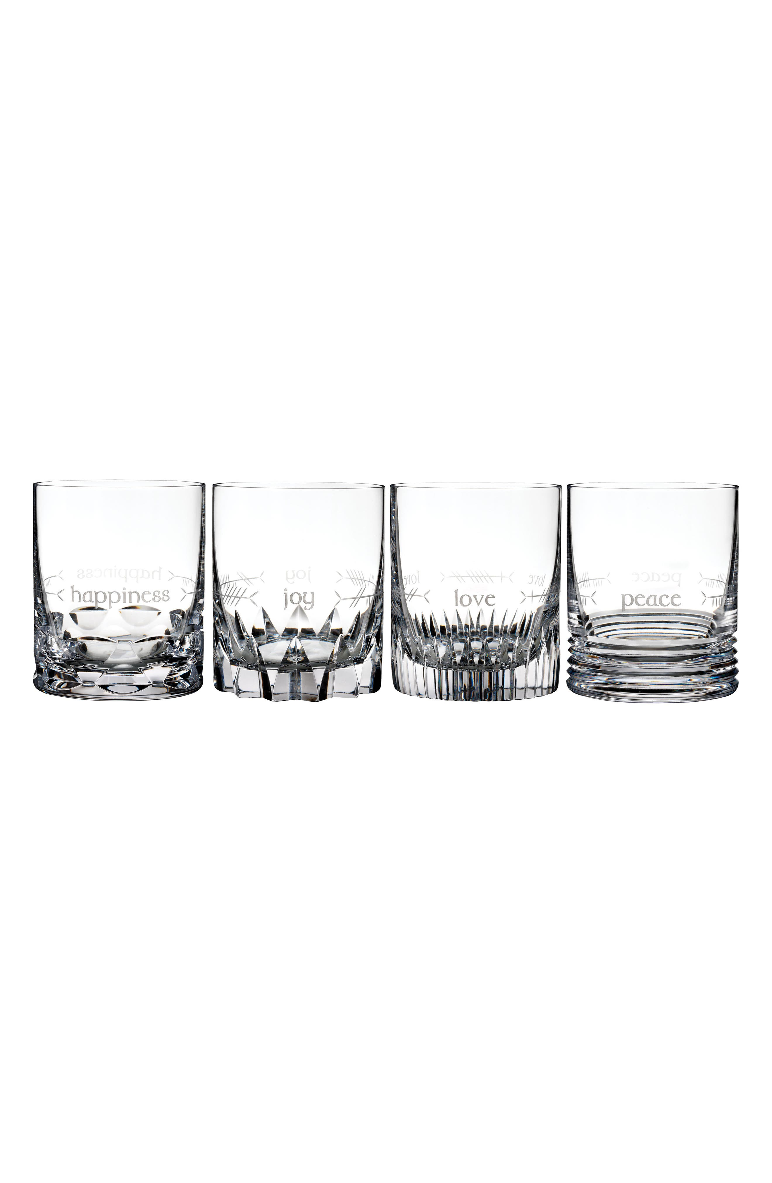 Ogham Mixed Set of 4 Lead Crystal Double Old Fashioned Glasses,                             Main thumbnail 1, color,                             CRYSTAL