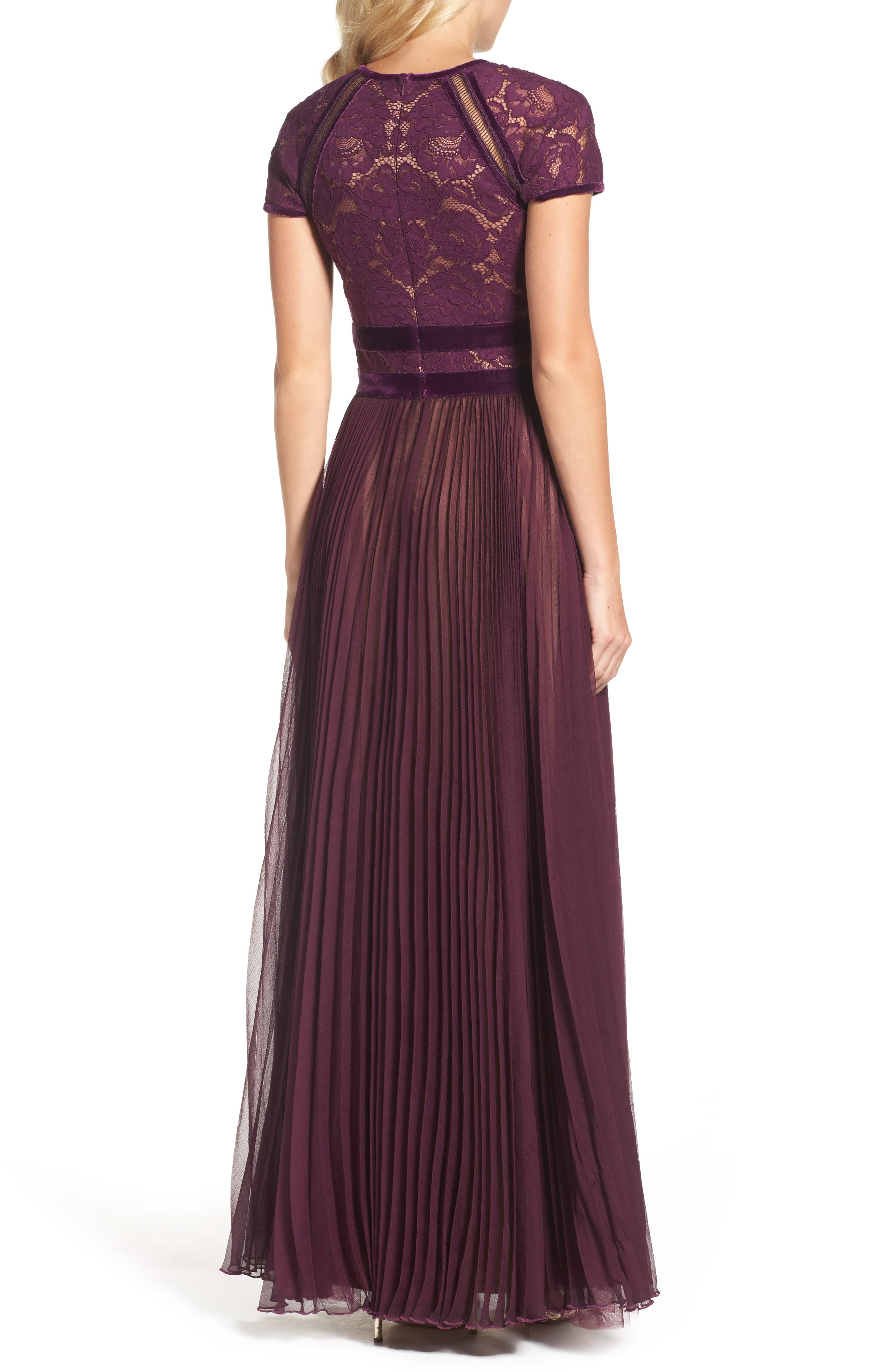 Pleated Lace & Chiffon Gown,                             Alternate thumbnail 2, color,                             572