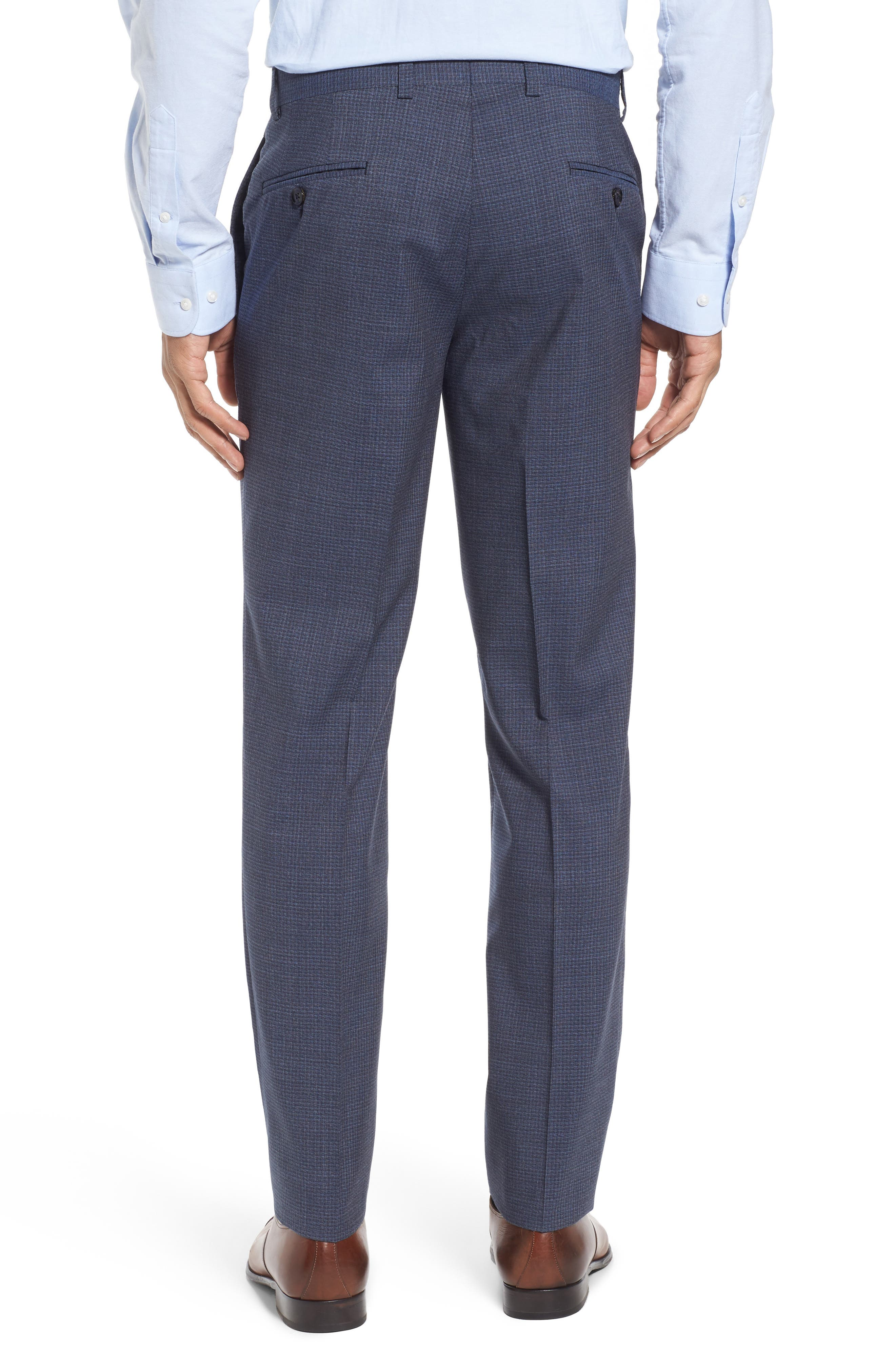 Flat Front Check Wool Trousers,                             Alternate thumbnail 3, color,