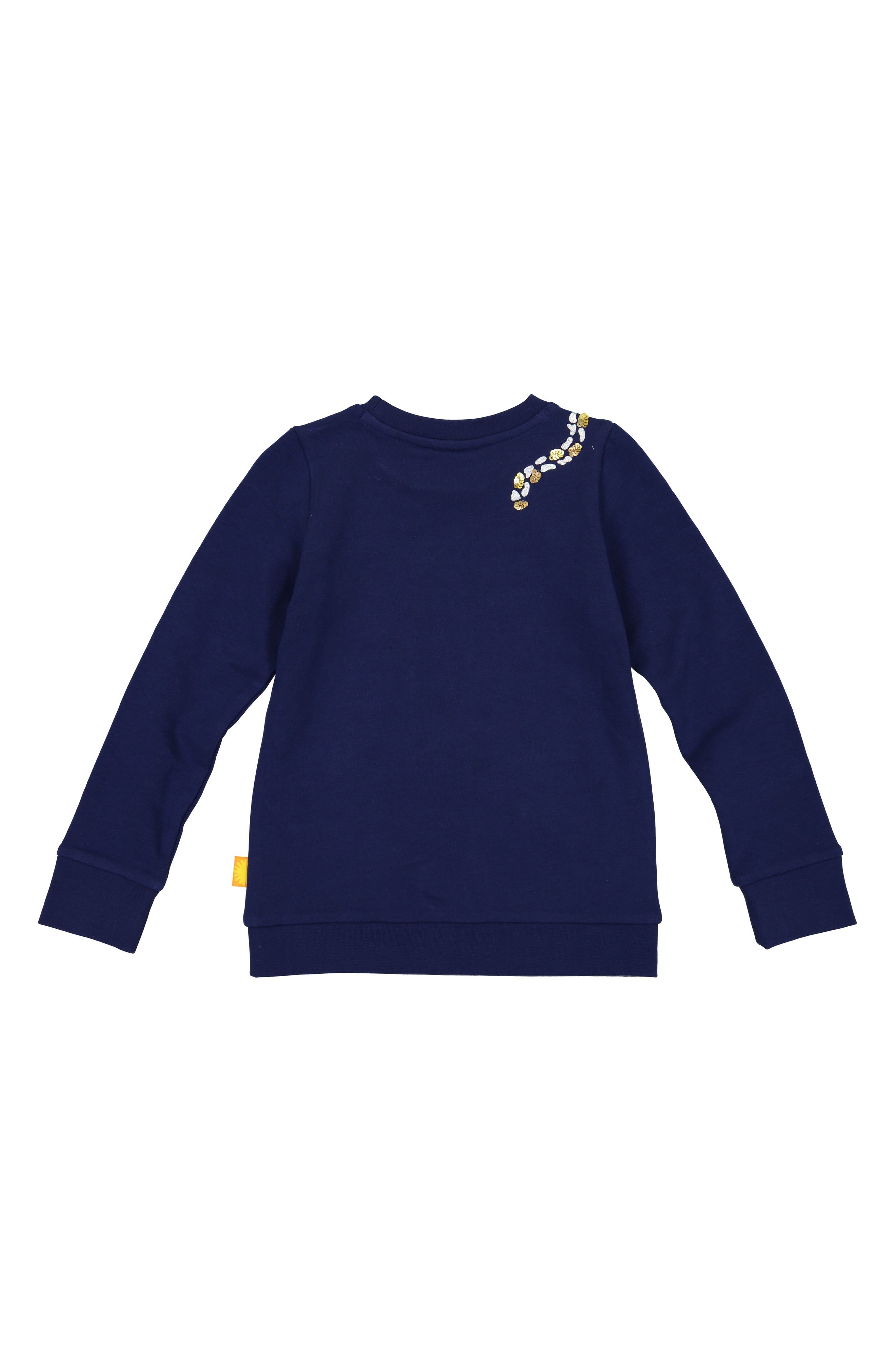 Cheetah Organic Cotton Sweatshirt,                             Alternate thumbnail 3, color,                             NAVY
