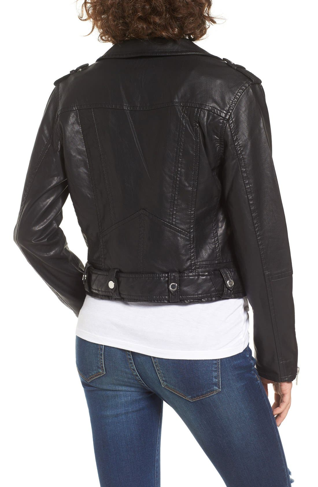 BLANKNYC,                             Faux Leather Crop Moto Jacket,                             Alternate thumbnail 2, color,                             001