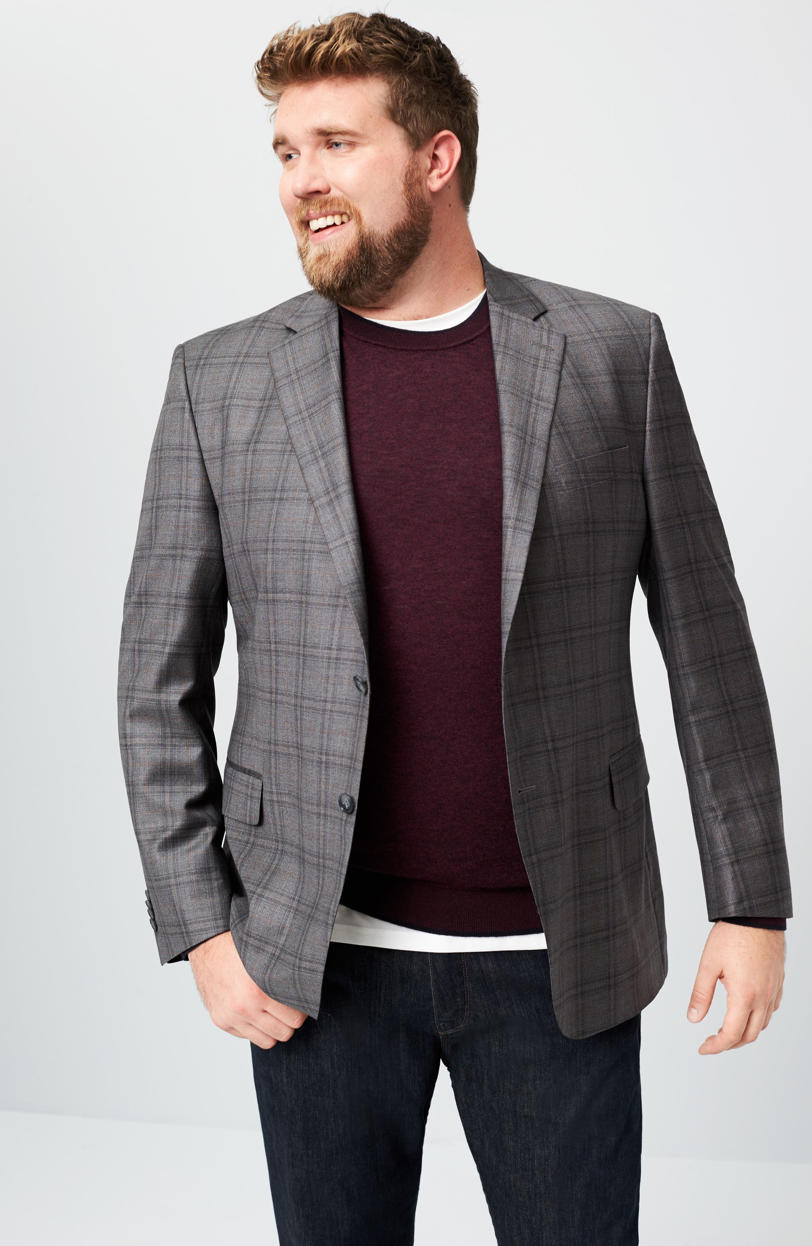 Flynn Classic Fit Plaid Wool Sport Coat,                             Alternate thumbnail 7, color,                             020