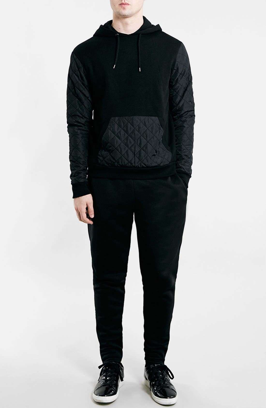 Black Quilted Hoodie,                             Alternate thumbnail 4, color,                             001