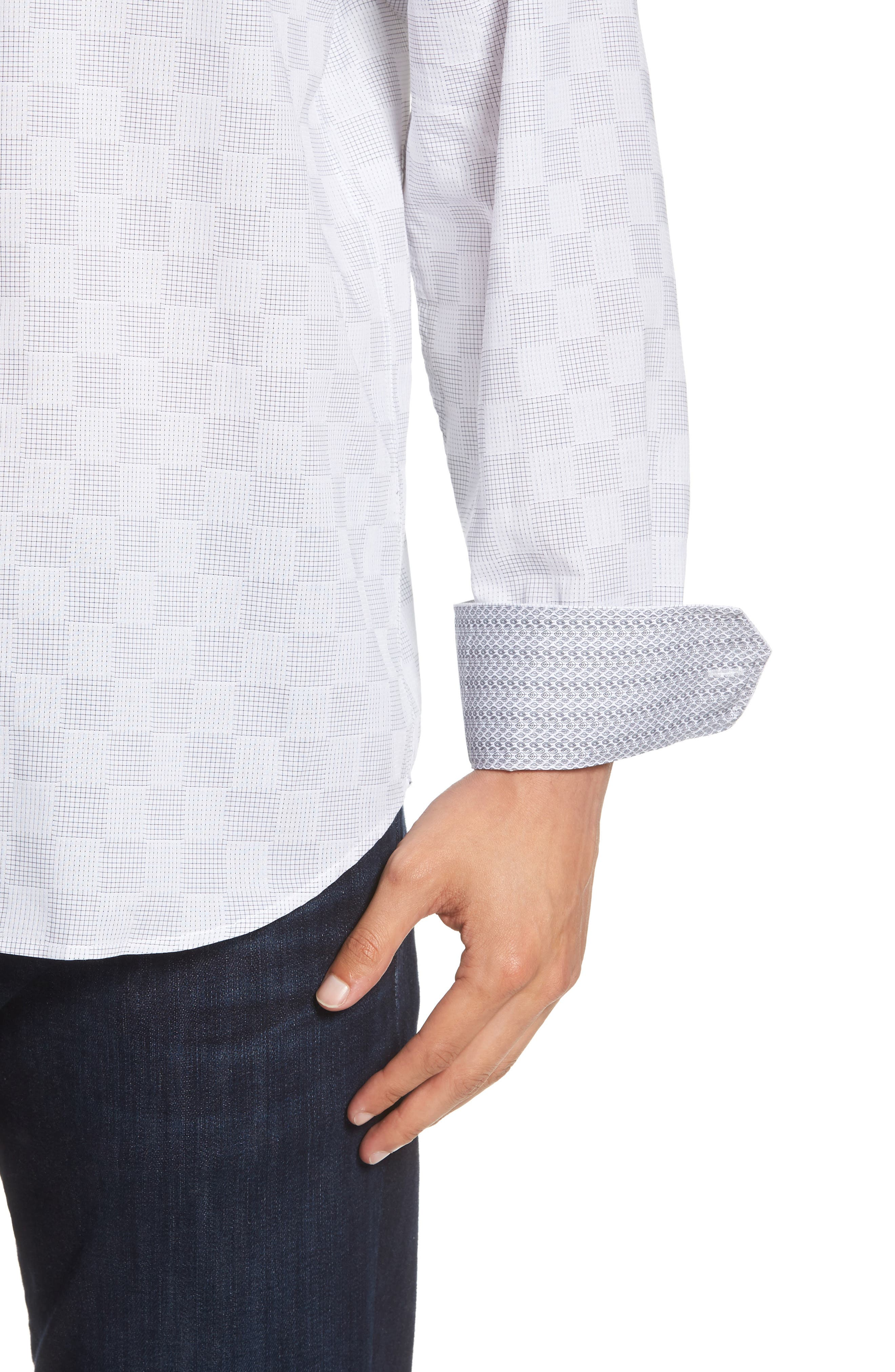 Classic Fit Checkerboard Print Sport Shirt,                             Alternate thumbnail 4, color,                             020