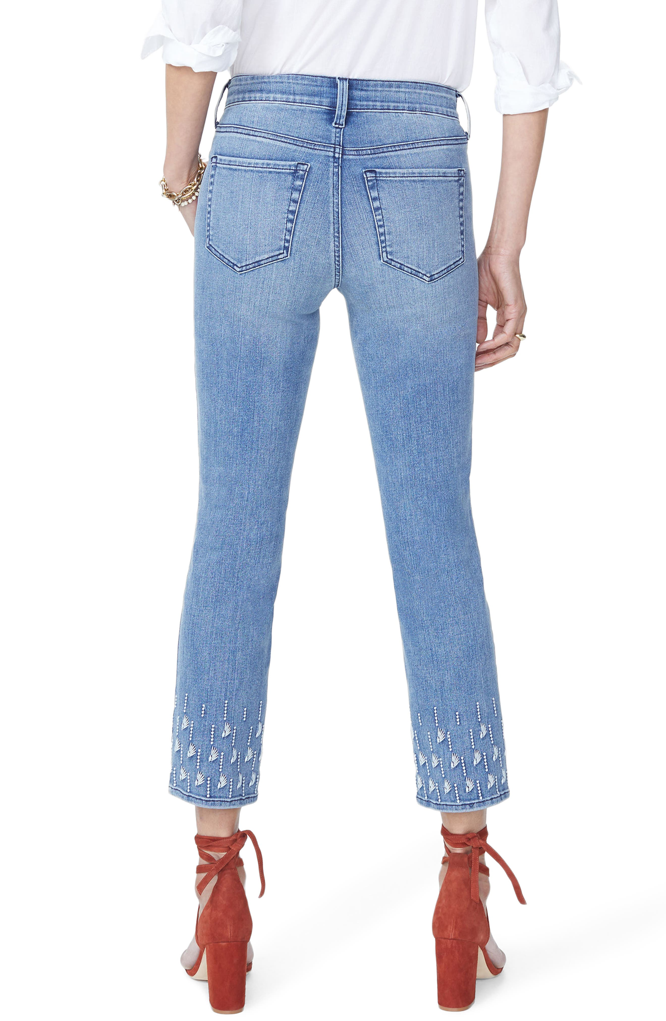 Sheri Embroidered Stretch Slim Ankle Jeans,                             Alternate thumbnail 2, color,                             POINT DUME