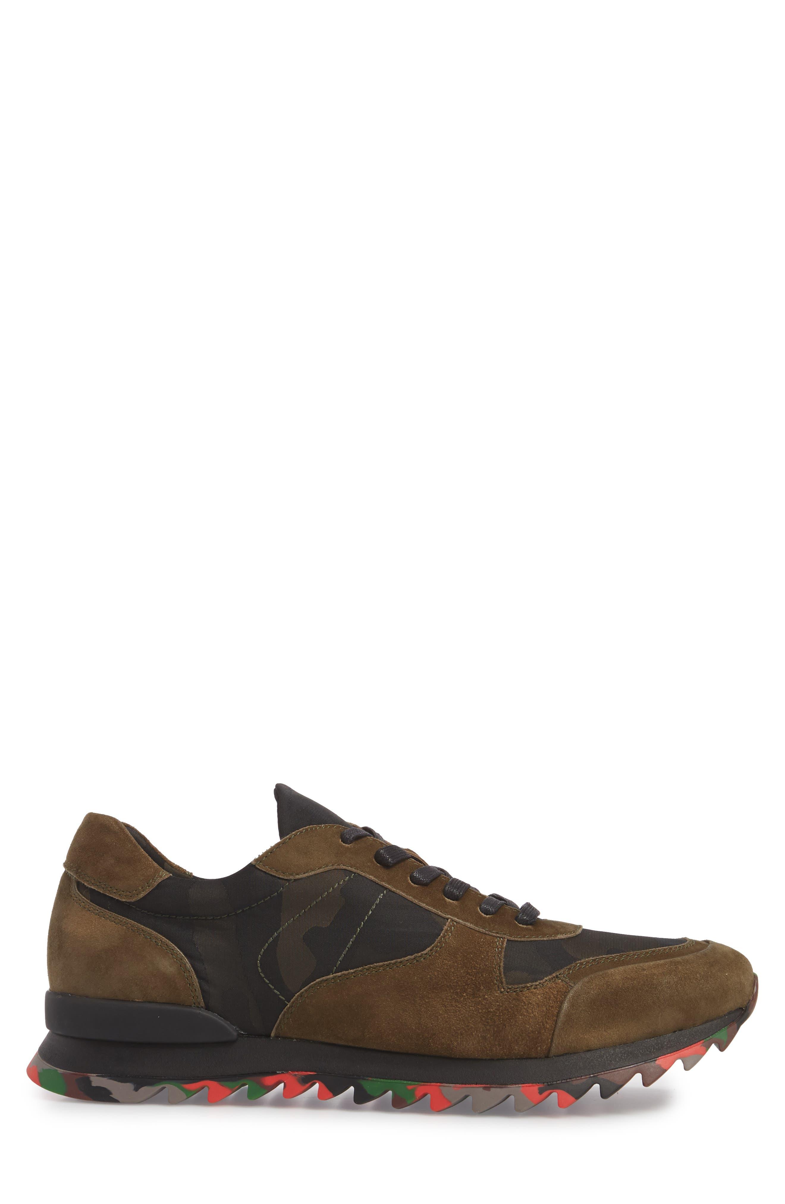 Camo Print Sneaker,                             Alternate thumbnail 3, color,                             OLIVE