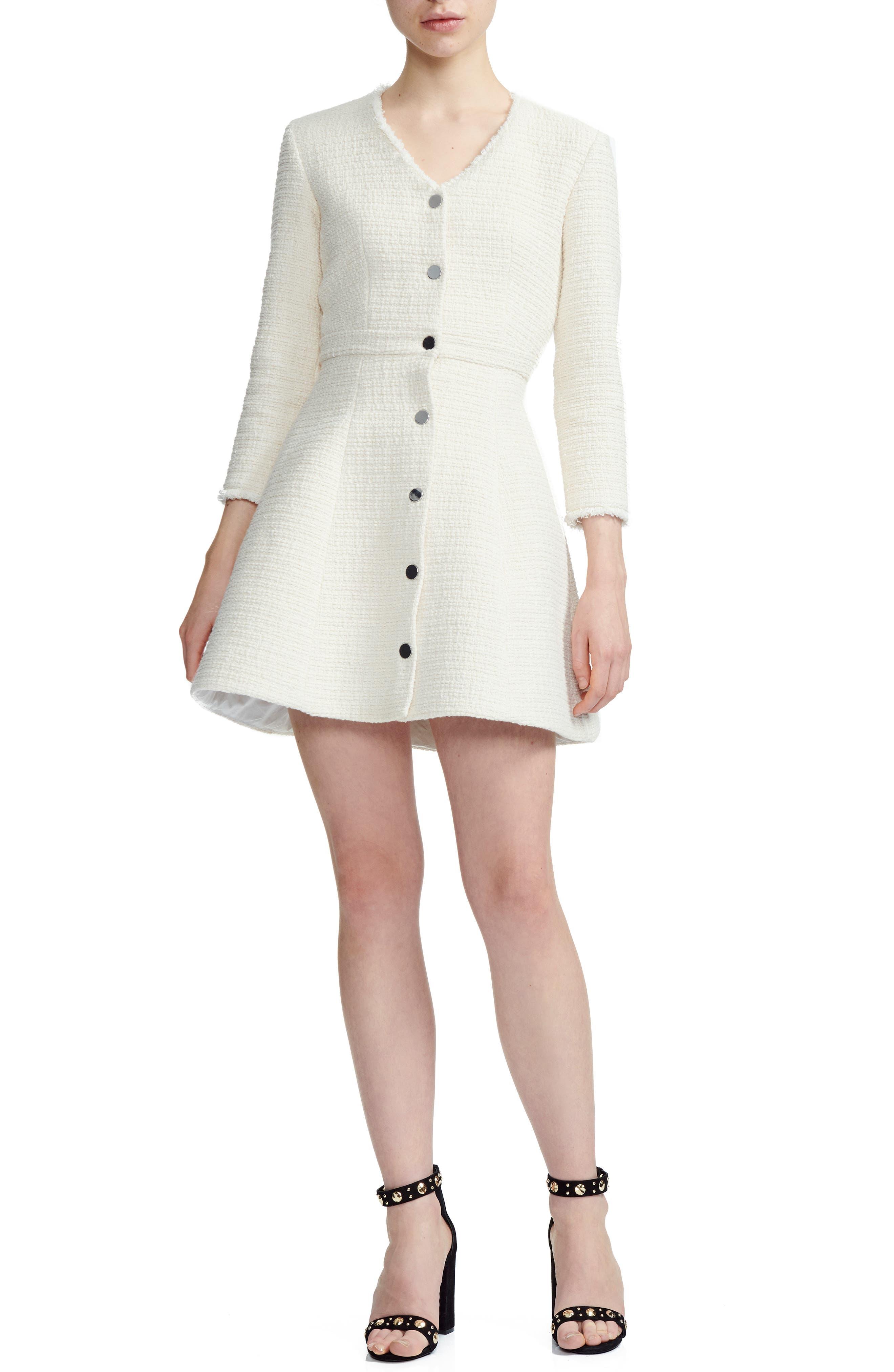 Maje Ryzer Tweed Skater Dress, Ivory