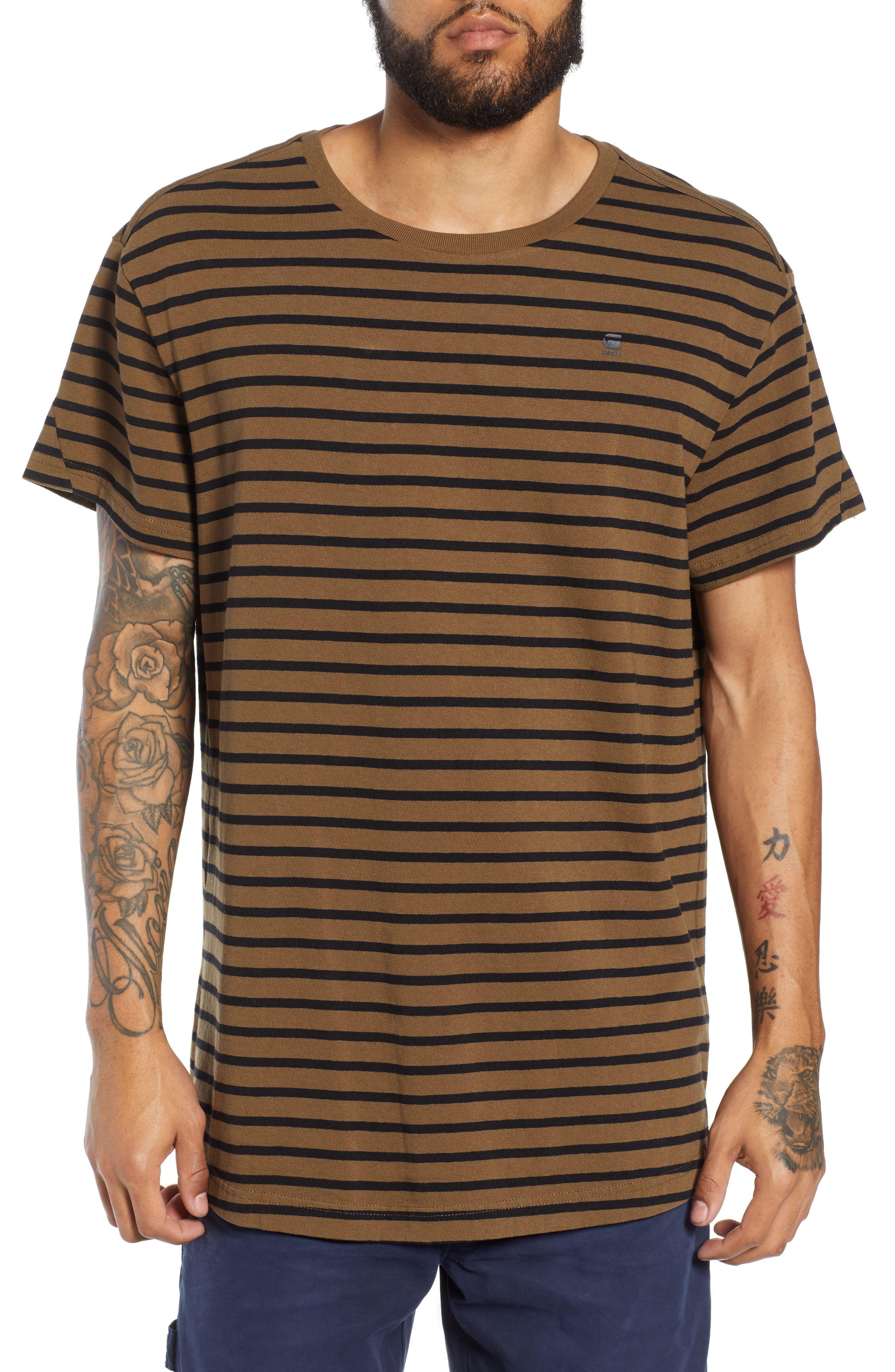 G-STAR RAW Starkon Stripe T-Shirt in Wild Olive/ Dark Black