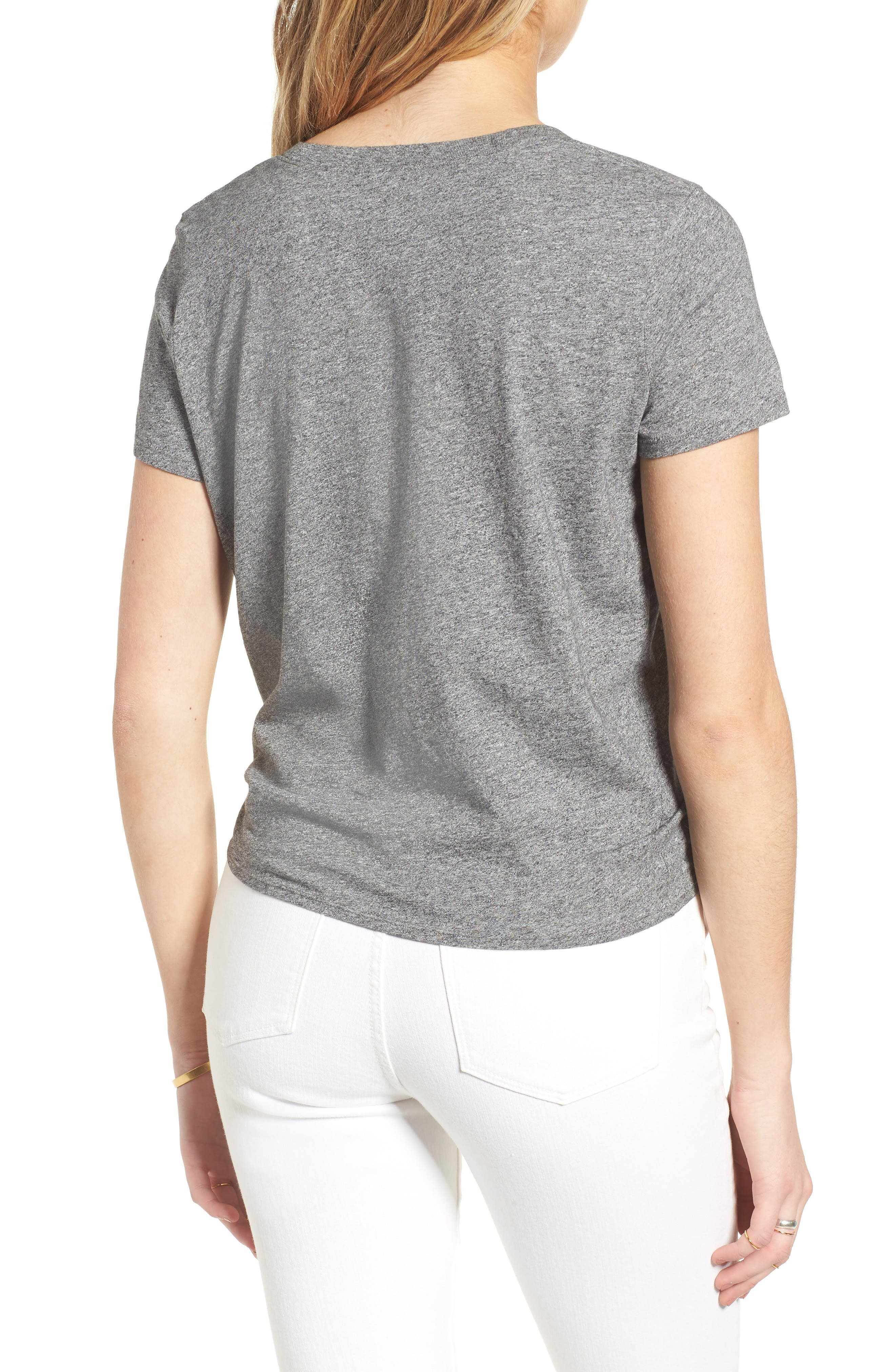 Knot Front Tee,                             Alternate thumbnail 2, color,                             HEATHER SHALE