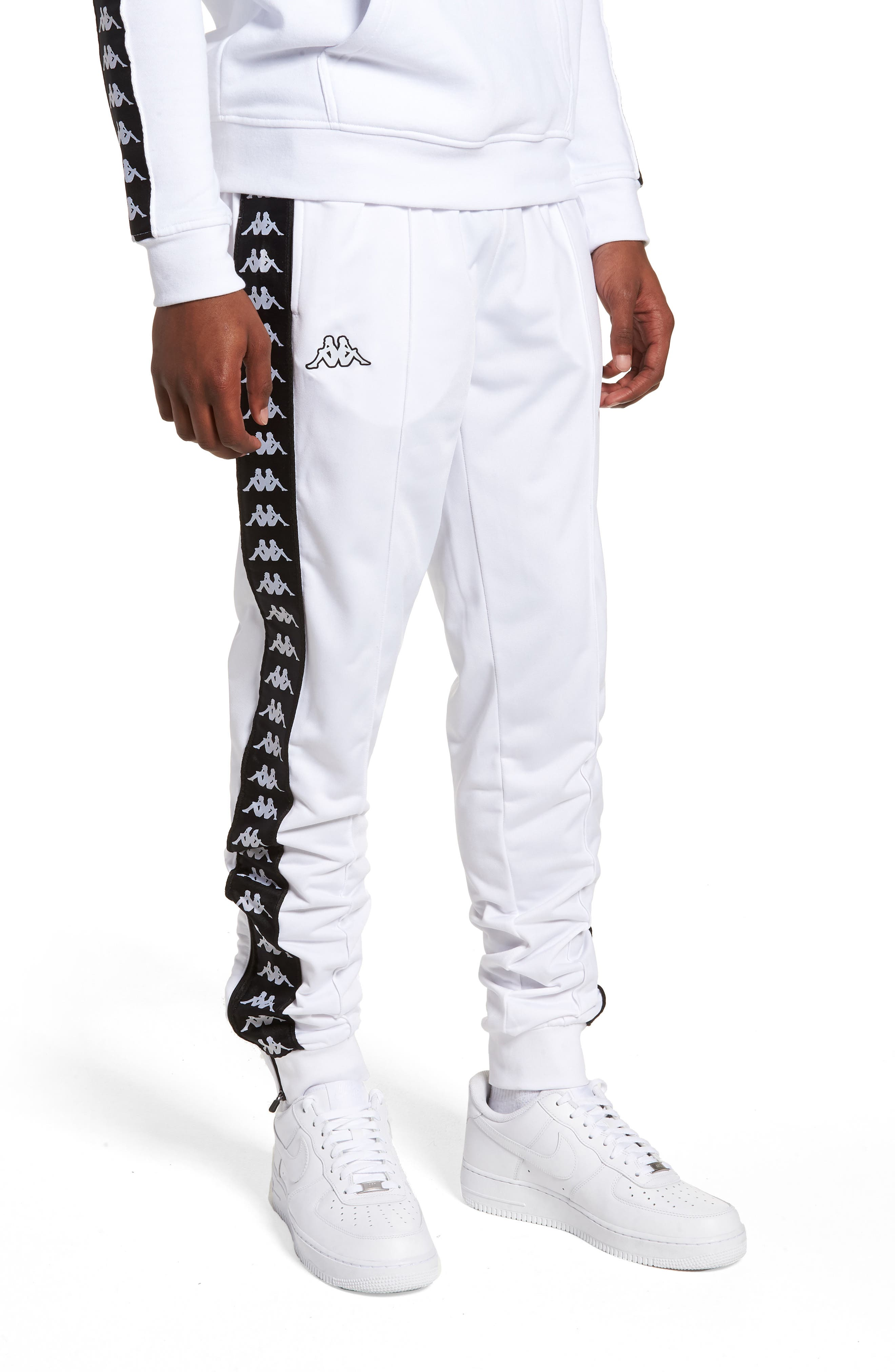 Active Banded Track Pants,                         Main,                         color, WHITE/ BLACK