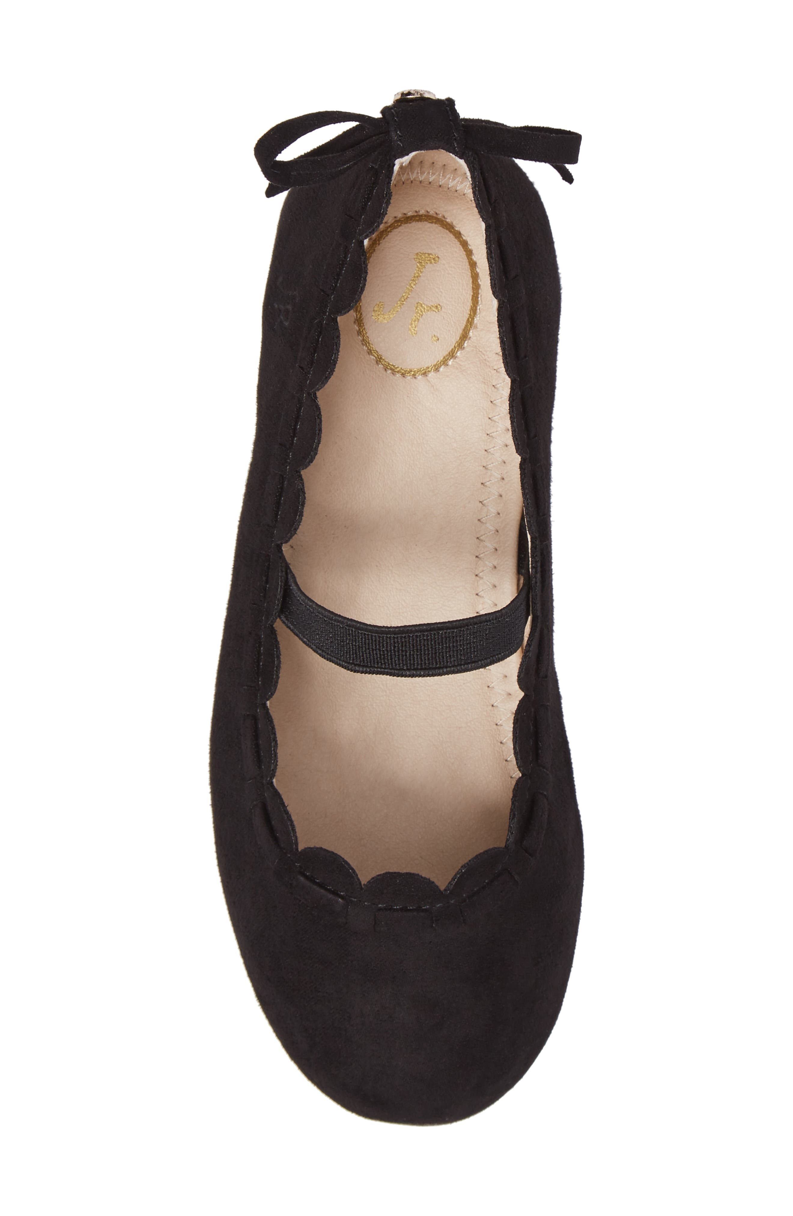 Little Miss Lucie Scalloped Mary Jane Flat,                             Alternate thumbnail 5, color,                             001