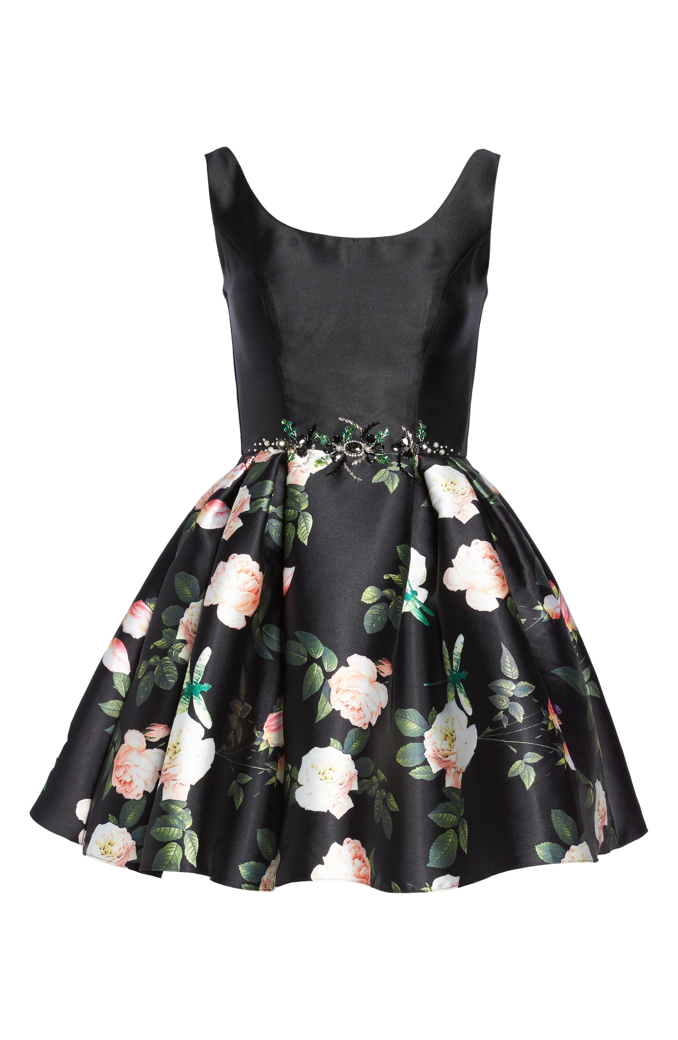 Floral Fit & Flare Dress,                             Alternate thumbnail 6, color,                             001