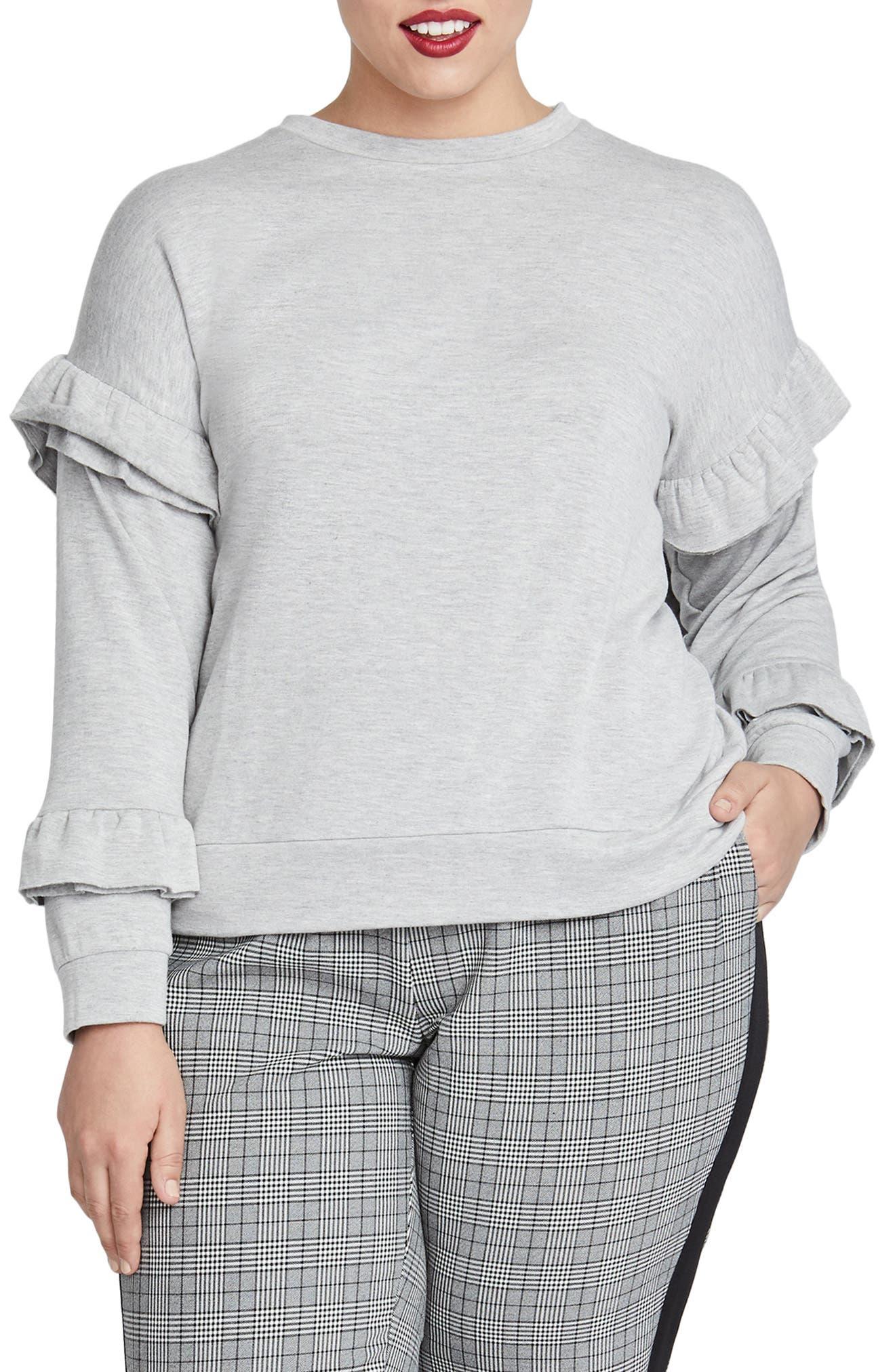 Plus Size Rachel Rachel Roy Miranda Ruffle Sweatshirt, Grey