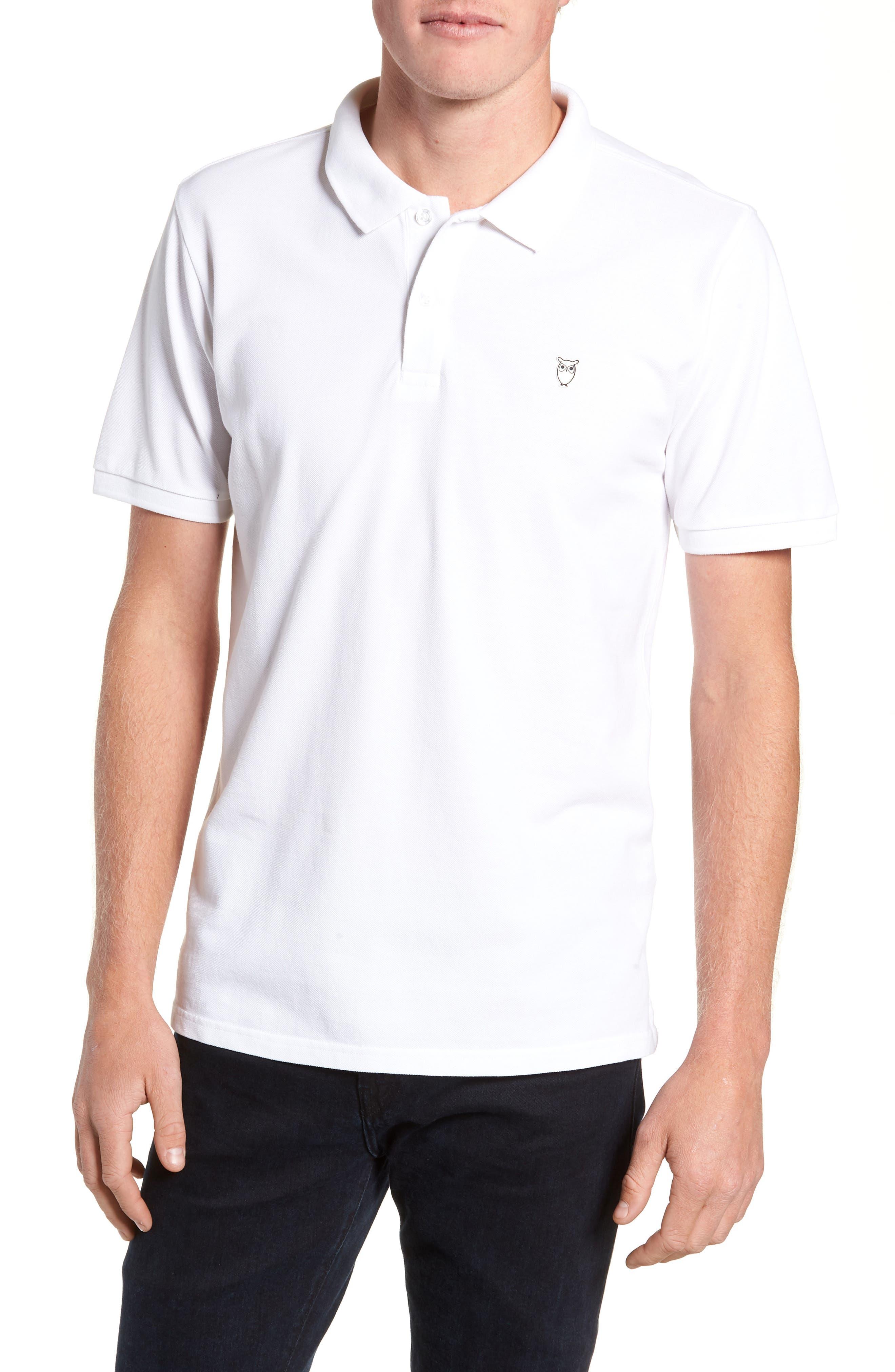 Knowledge Cotton Apparel Trim Fit Piqué Polo,                         Main,                         color, WHITE