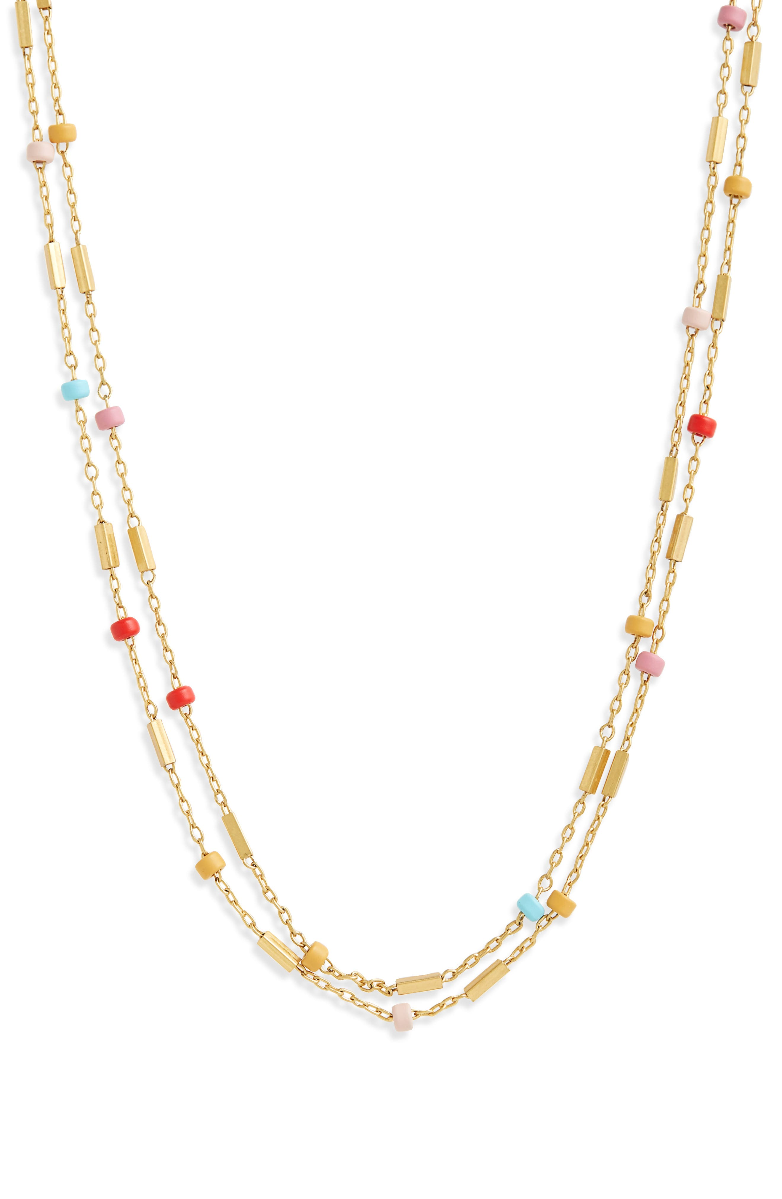 Layered Beaded Chain Necklace,                             Main thumbnail 1, color,                             710