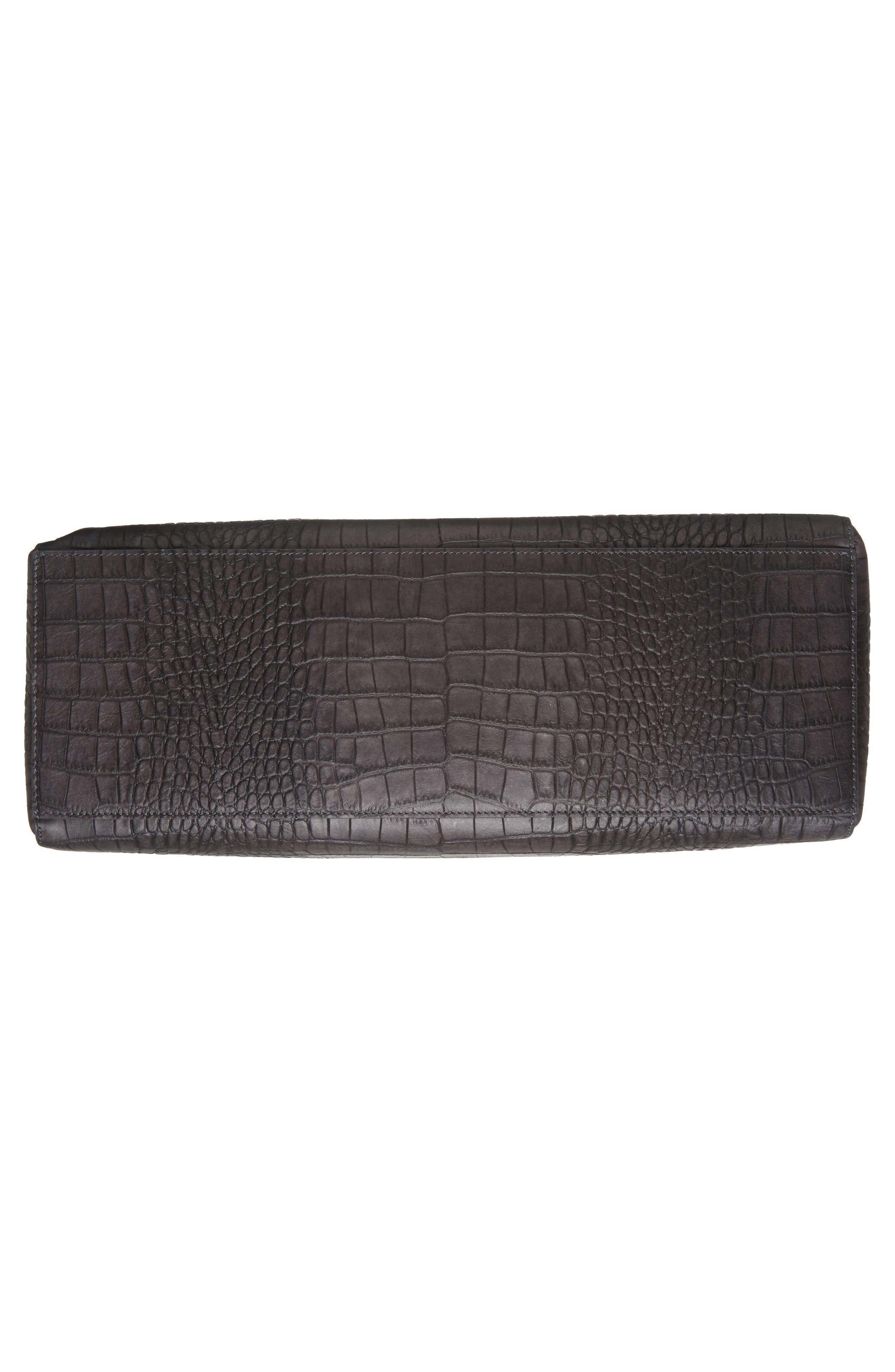 Large Sveva Croc Embossed Calfskin Leather Convertible Satchel,                             Alternate thumbnail 6, color,                             020