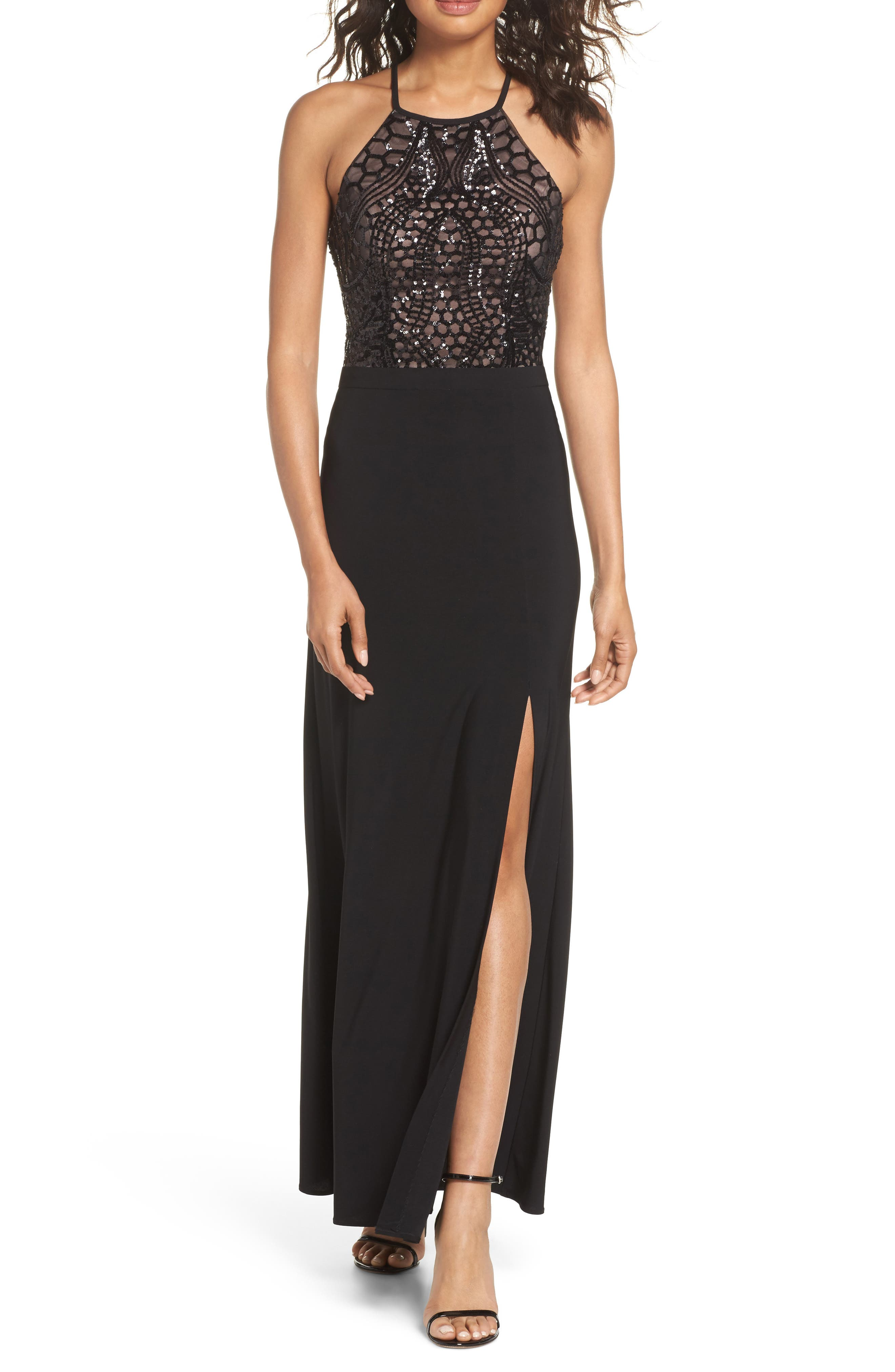 Sequin Halter Gown,                             Main thumbnail 1, color,                             BLACK/ NUDE