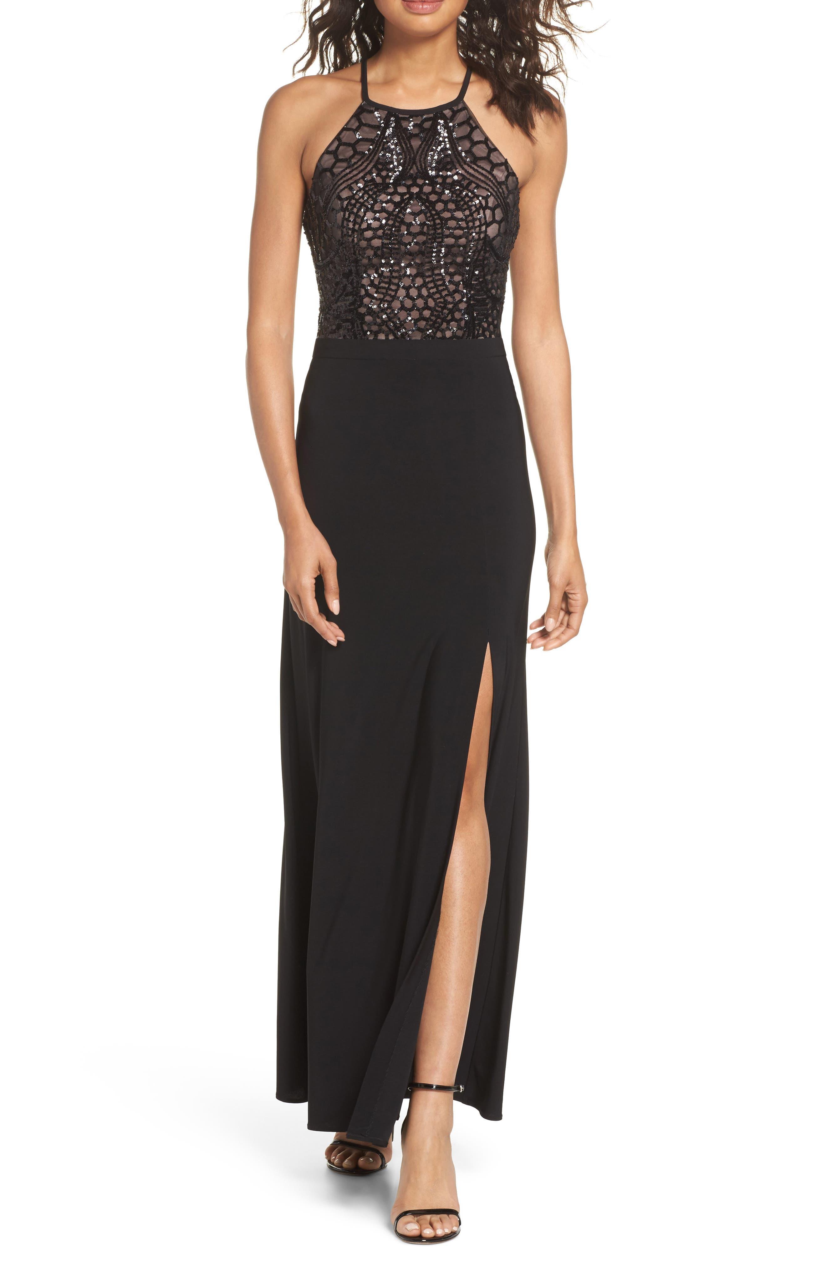 Sequin Halter Gown,                         Main,                         color, BLACK/ NUDE