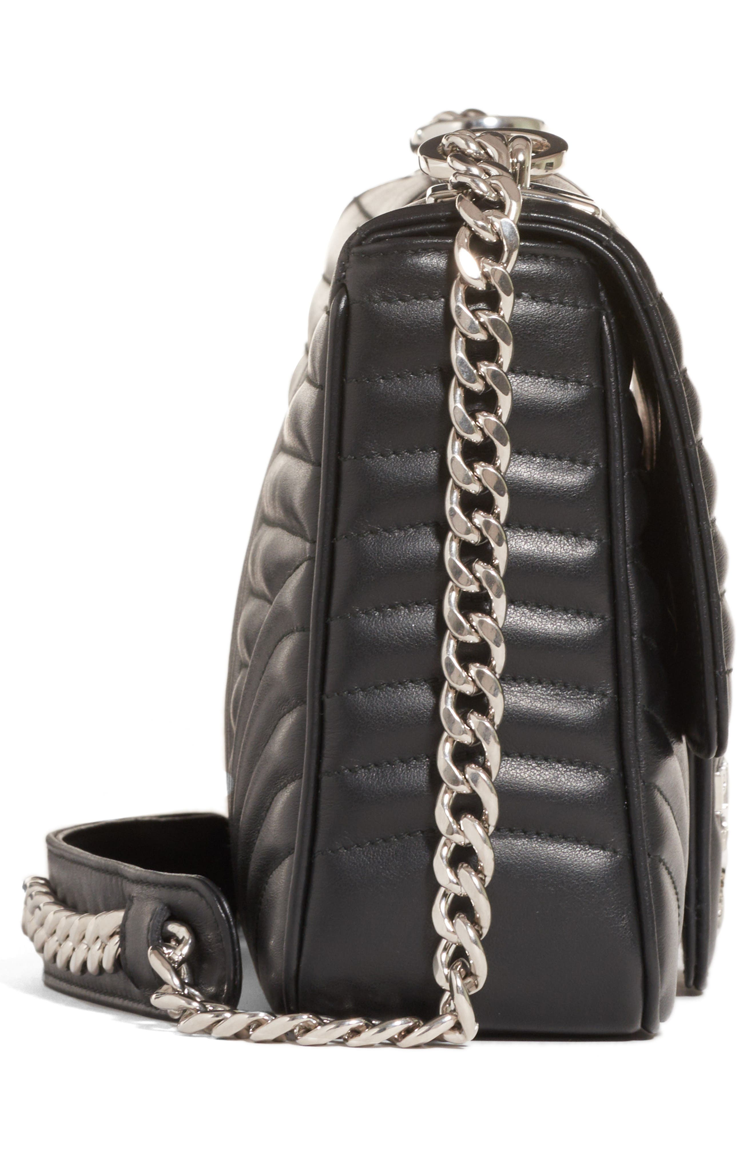 Large Quilted Leather Shoulder Bag,                             Alternate thumbnail 4, color,                             NERO